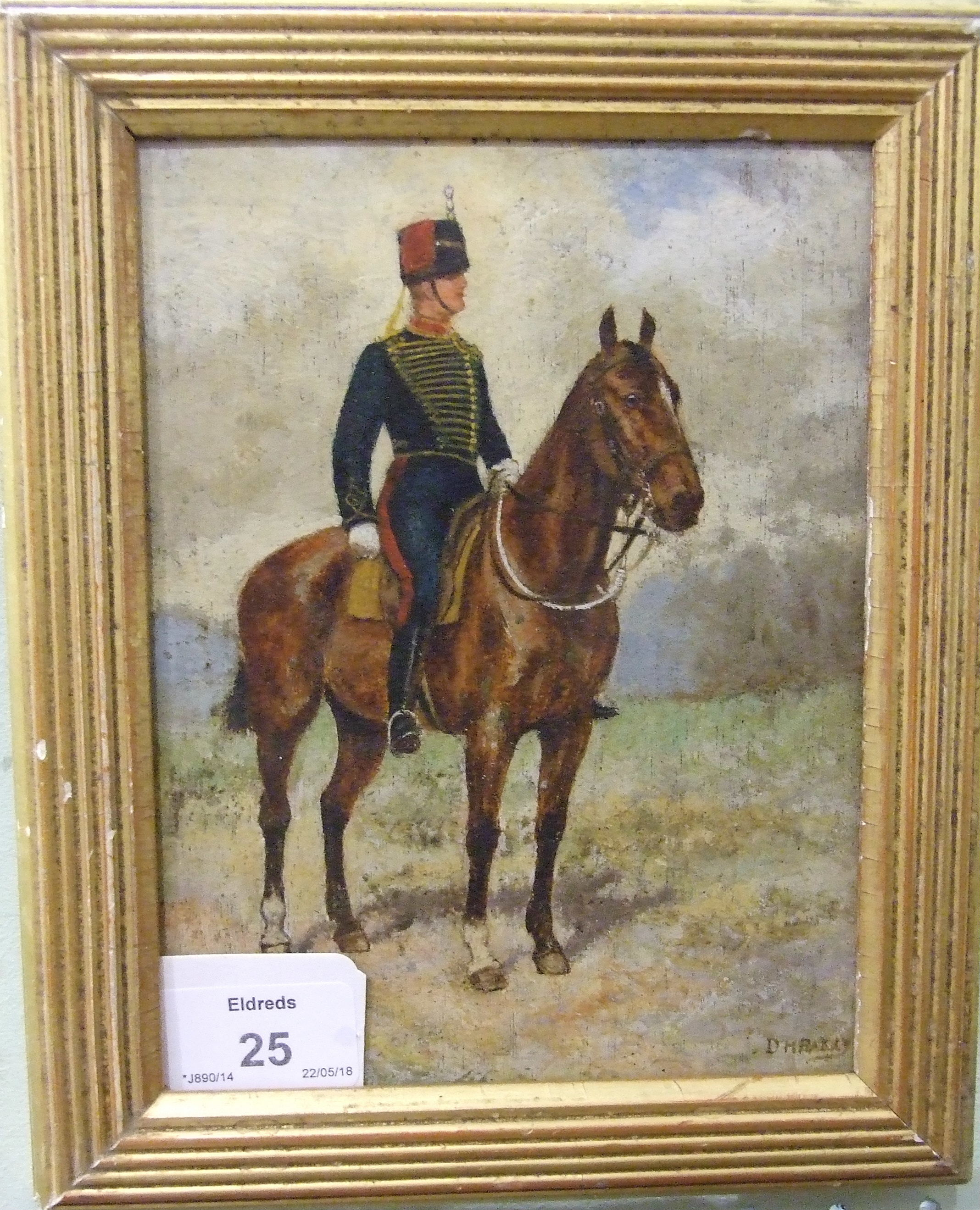 D H ........ HUSSAR ON HORSEBACK Indistinctly-signed oil on panel, 17 x 13cm and an unsigned - Image 3 of 3