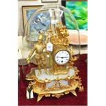 A late-19th century gilt spelter and alabaster mantel clock surmounted by a French military figure