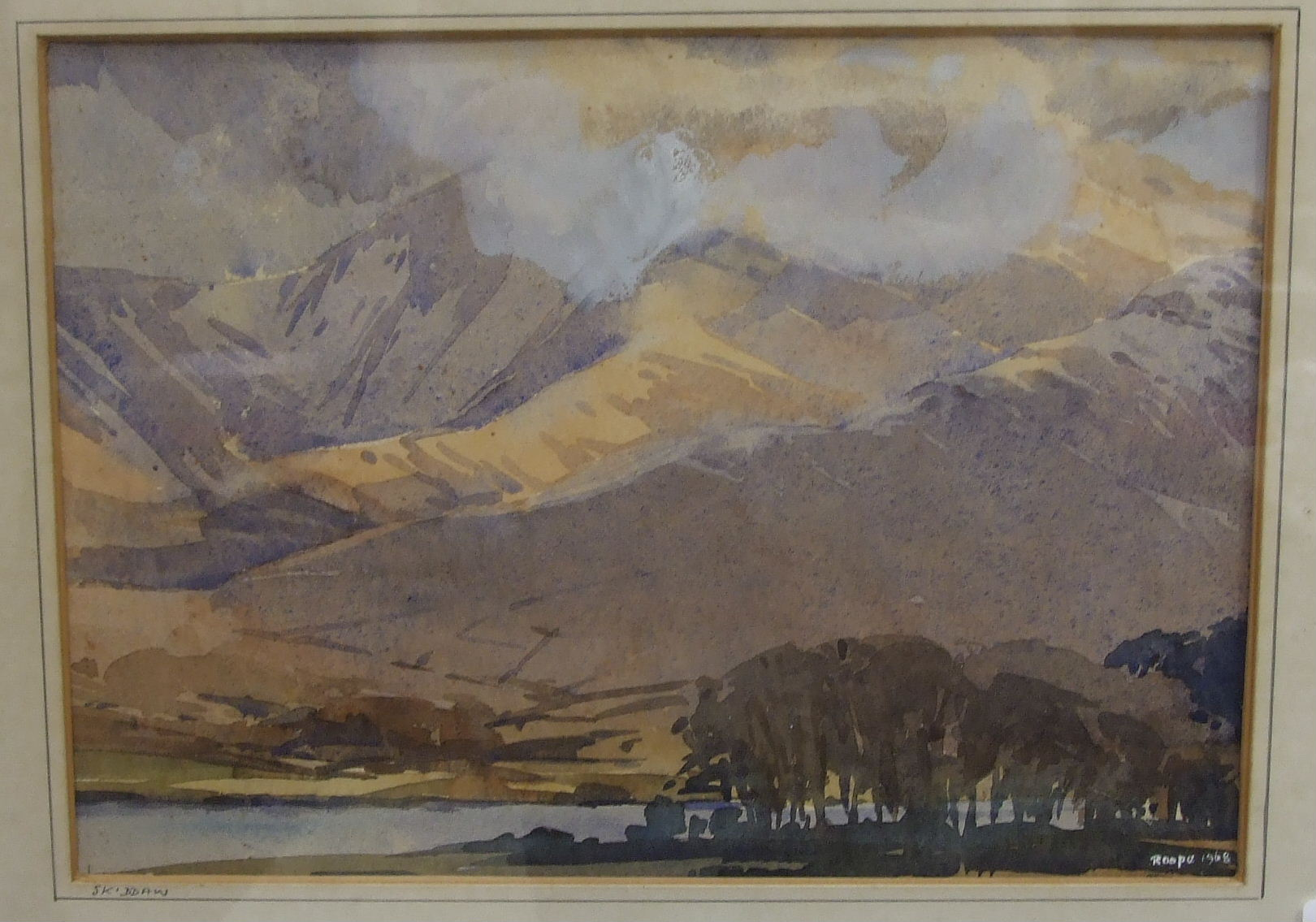 •Len Roope (1917-2005) SKIDDAW Signed watercolour, titled and dated 1968, 23 x 33cm.