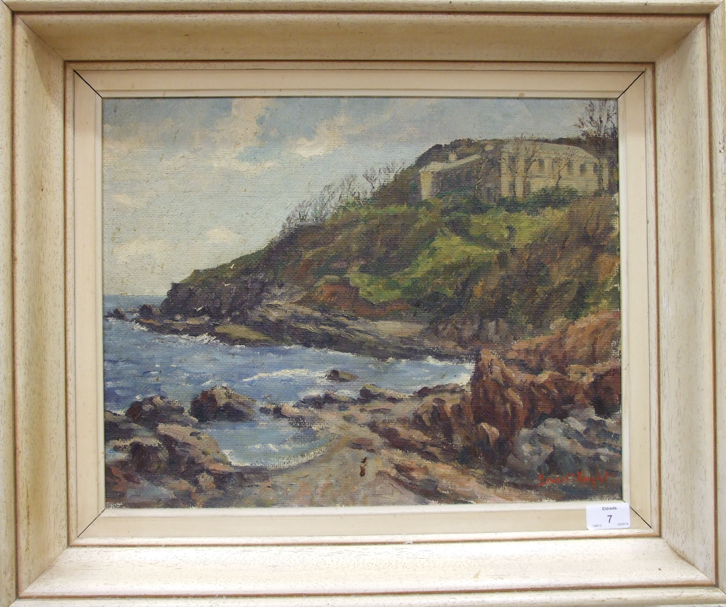•Ernest Knight (1915-1995) COASTAL SCENE WITH BUILDING OVERLOOKING A ROCKY SHORE Signed oil on