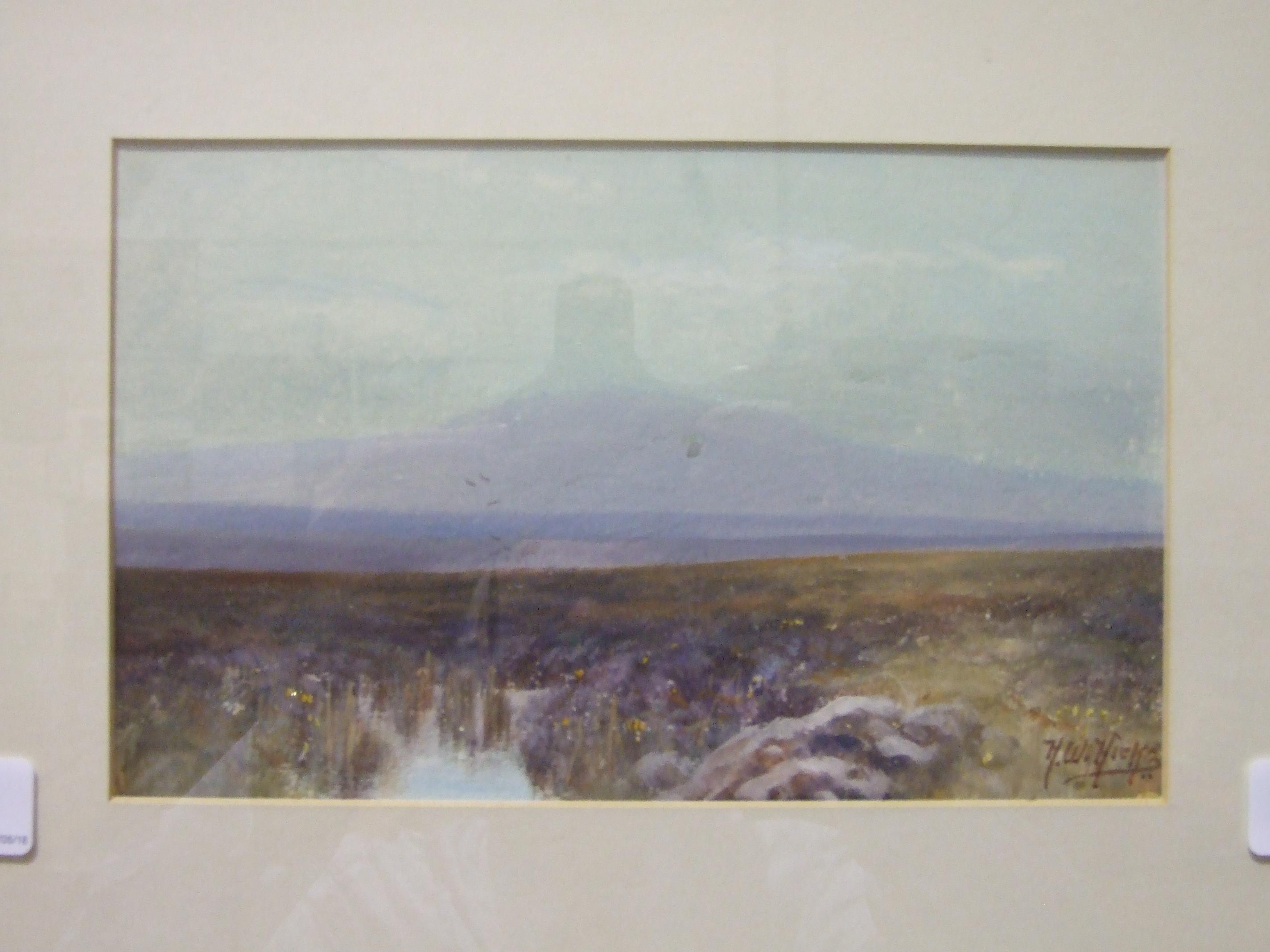 Herbert William Hicks (1880-1944) YES TOR, DARTMOOR Signed watercolour, 14.5 x 23cm.