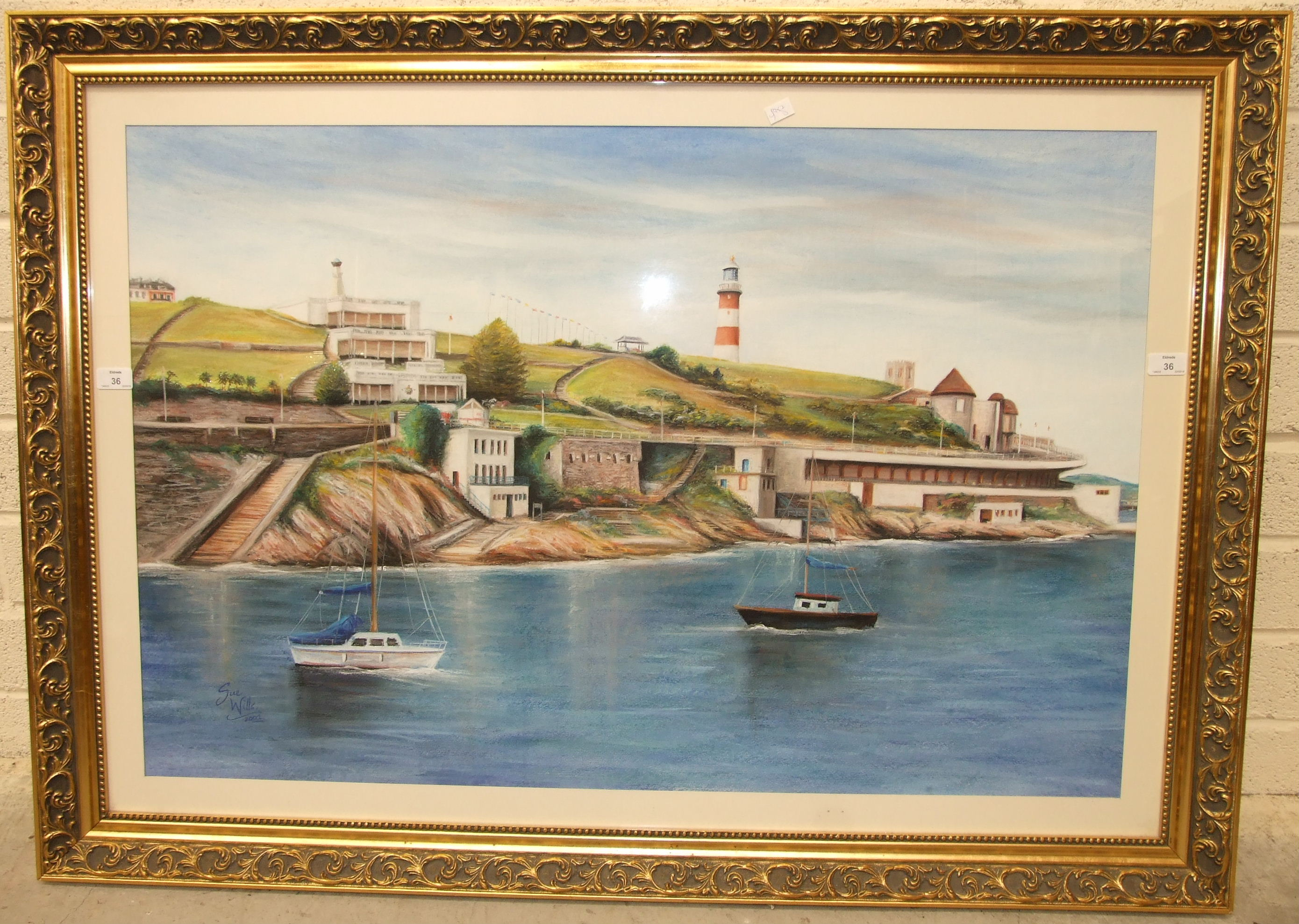 •Sue Wills (b. 1962) THE HOE, FORESHORE, PLYMOUTH Signed pastel, dated 2002, 67 x 103cm.