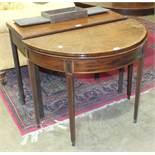 A Georgian mahogany fold-over card table, (in need of restoration), 91cm and another, (2).