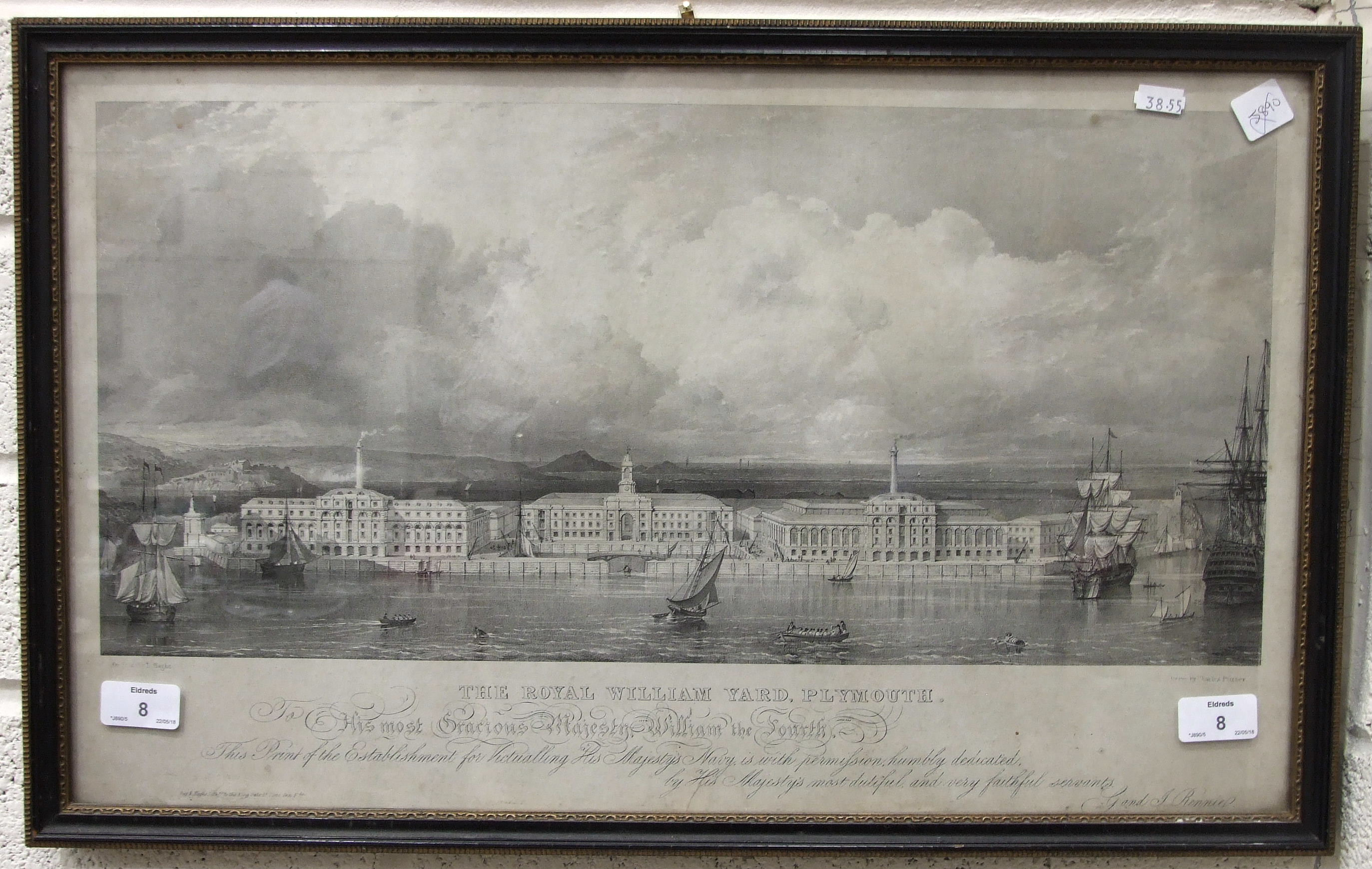 After Charles Purser, 'The Royal William Yard, Plymouth', a framed lithograph, Pub. Day & Haghe,