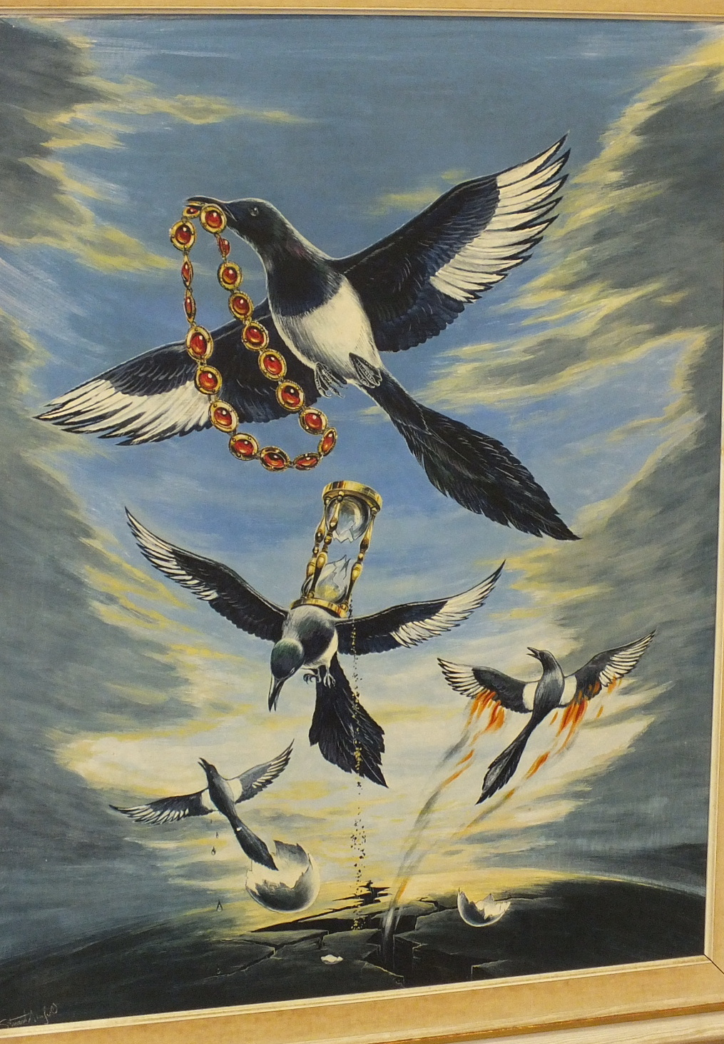 •Stuart Armfield (1916-1999) THEME AND VARIATIONS (MAGPIES) Signed egg tempera on board, titled