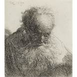 Rembrandt Harmensz van Rijn (1606-1669) Bust of an Old Man with a flowing beard, the head bowed f...
