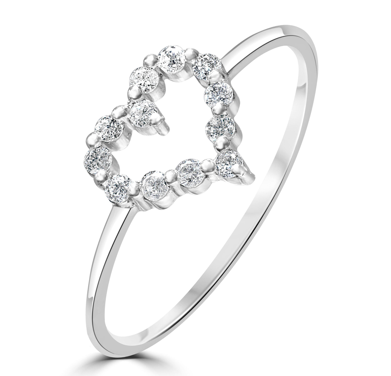 Platinum Diamond Heart Ring Size L RRP £799