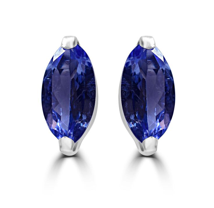 Tanzanite Stud EaringsPremium AAAA Marquise Cut Tanzanite in 18ct White Gold RRP £374