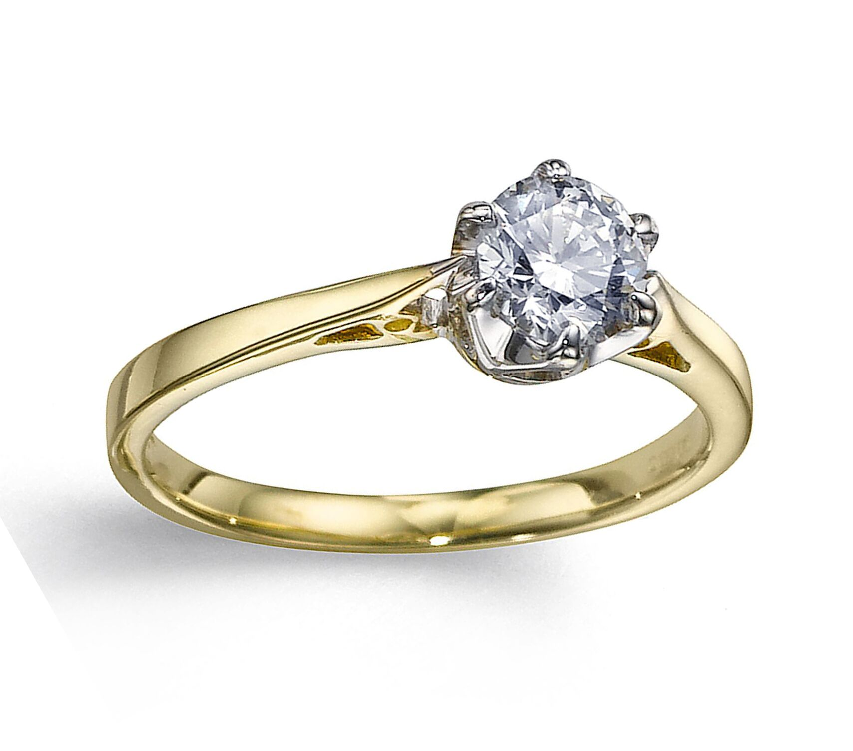 6 Claw Diamond Solitaire Engagement 9ct Yellow Gold Ring RRP £1140 Size O