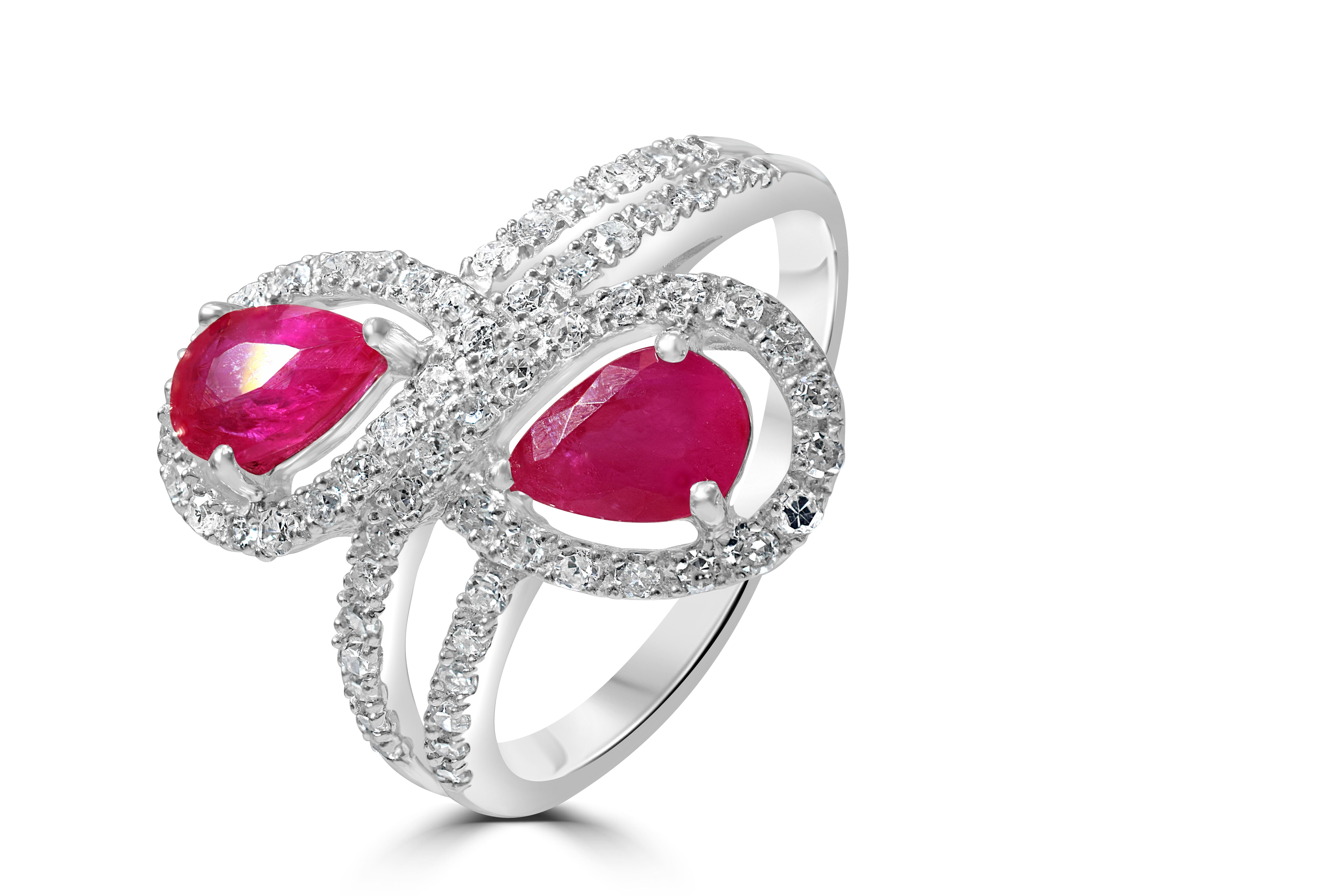 Two stone Ruby and Diamond 9ct White Gold Ring Size N RRP £2695