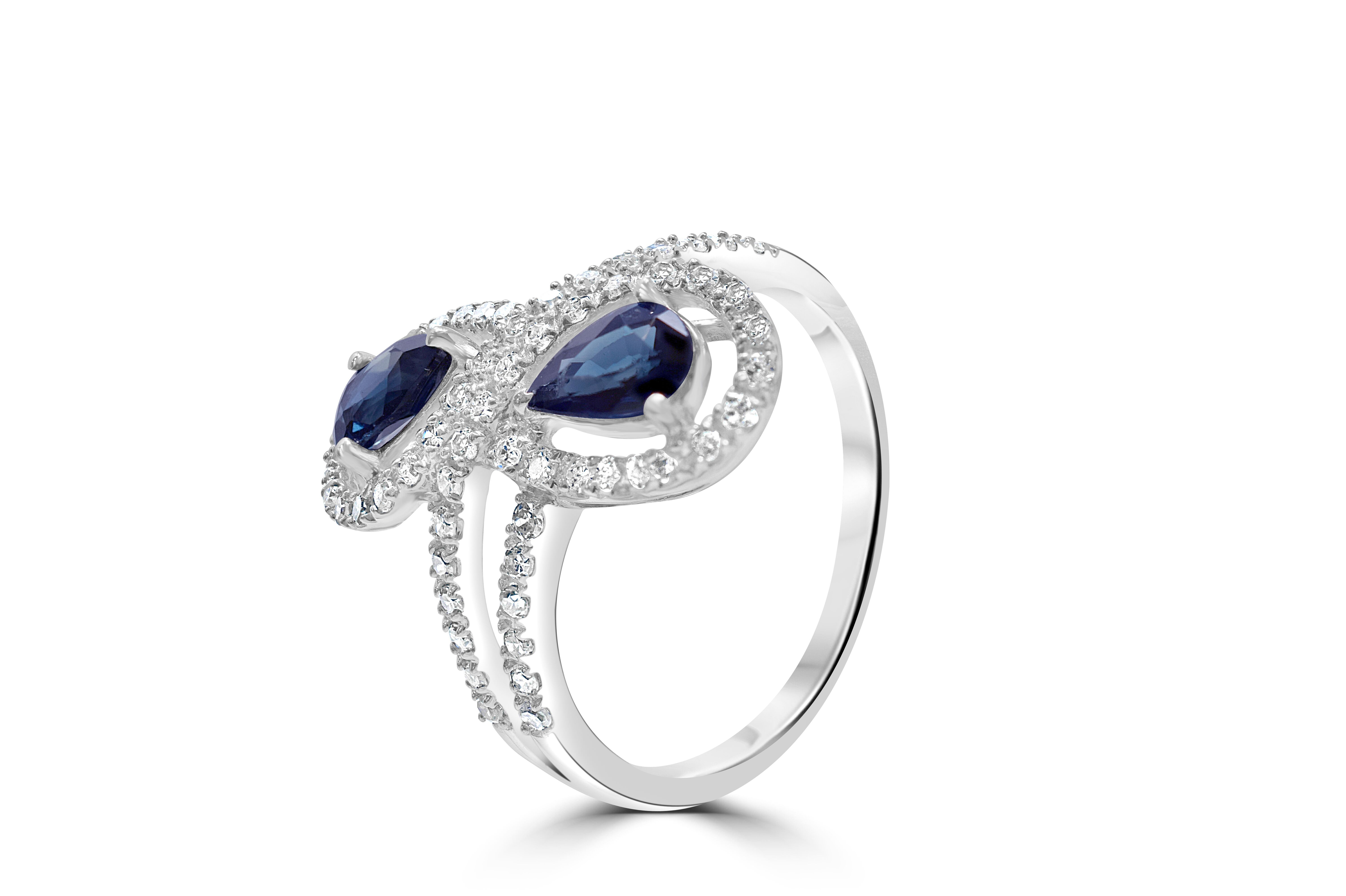 Two stone Sapphire and Diamond 9ct White Gold Ring RRP £2695 Size N
