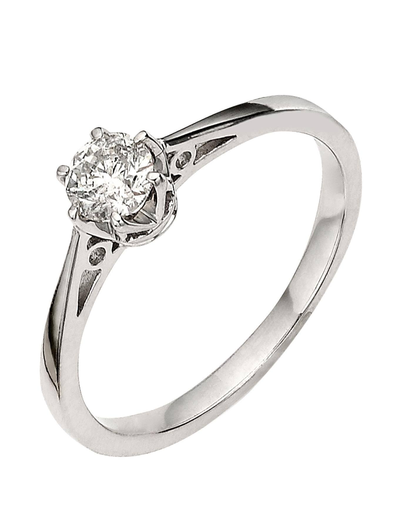 Diamond Solitaire Engagement 9ct White Gold Ring RRP £635 Size M