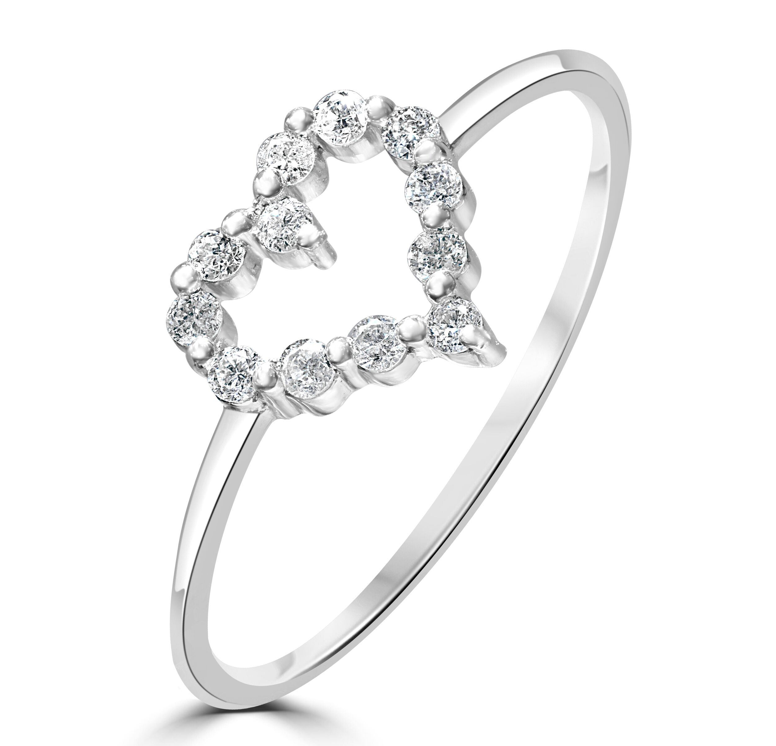 Platinum Diamond Heart Ring Size L RRP £799