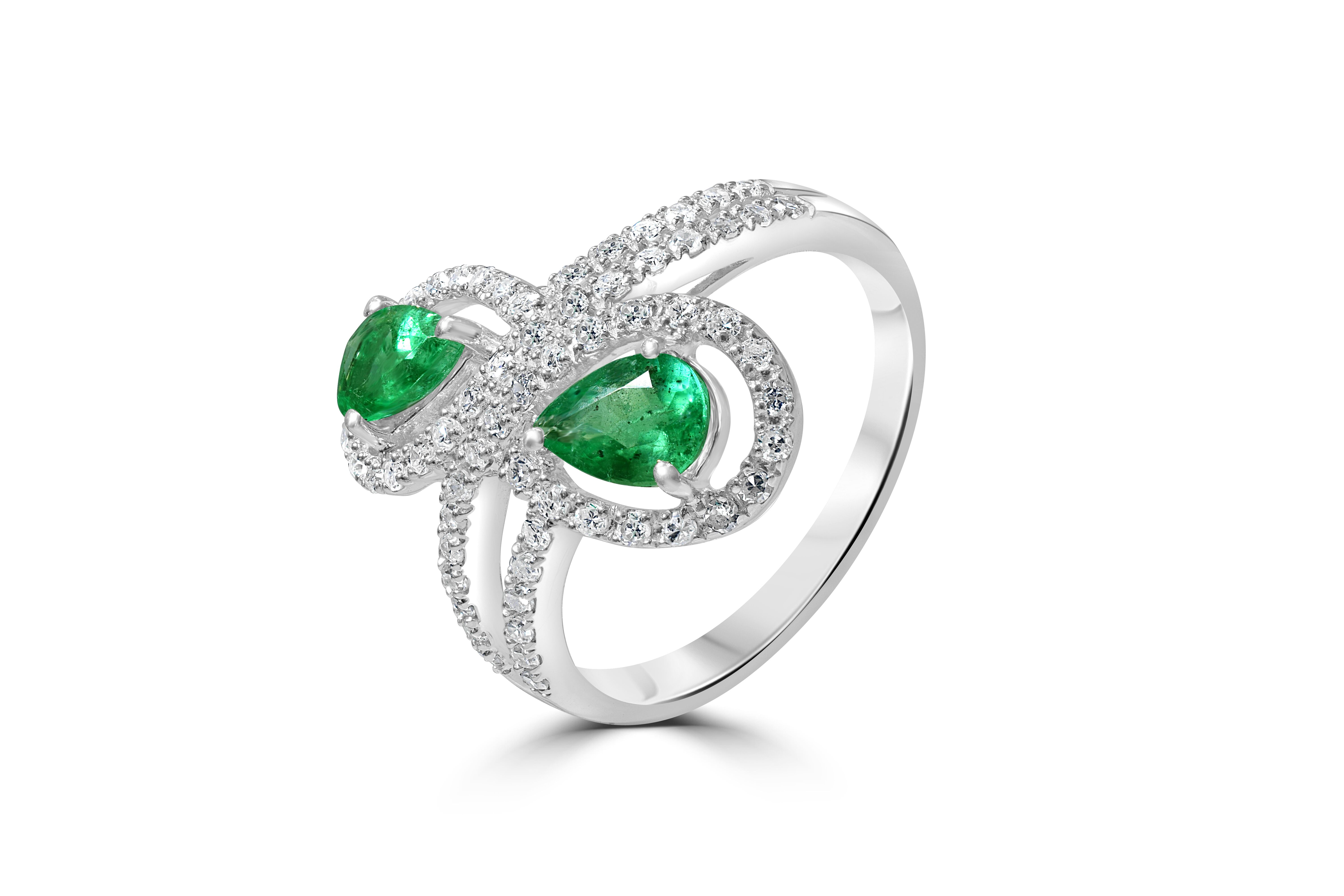 Two Stone Emerald and Diamond 9ct White Gold Ring RRP £2695 Size M