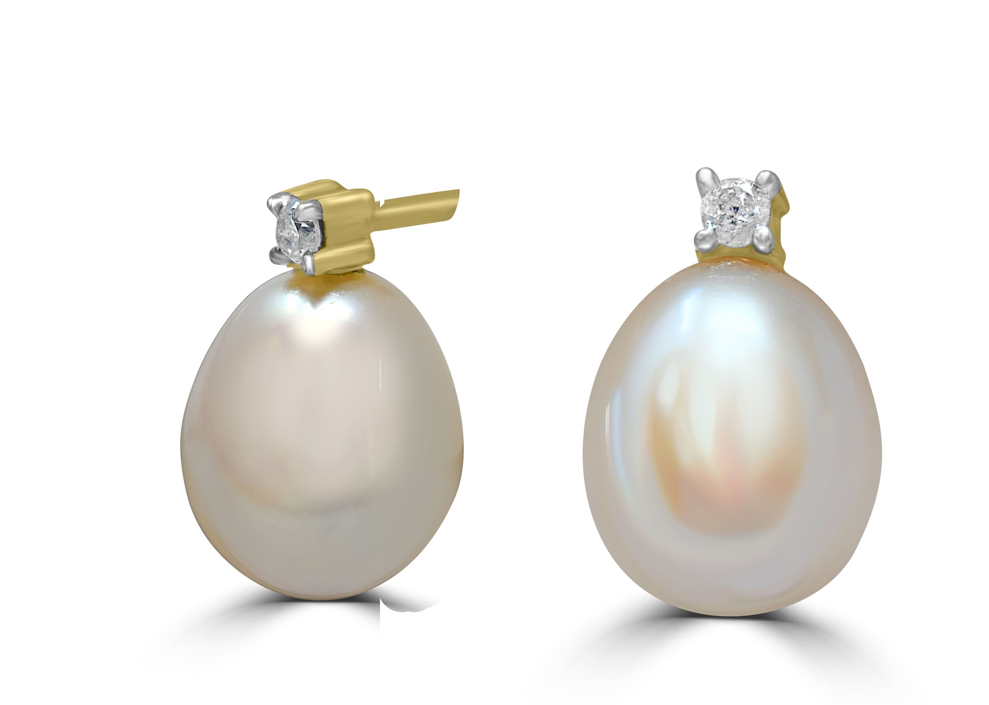 Pearl and Diamond Earrings In 9ct Yellow Gold RRP £258