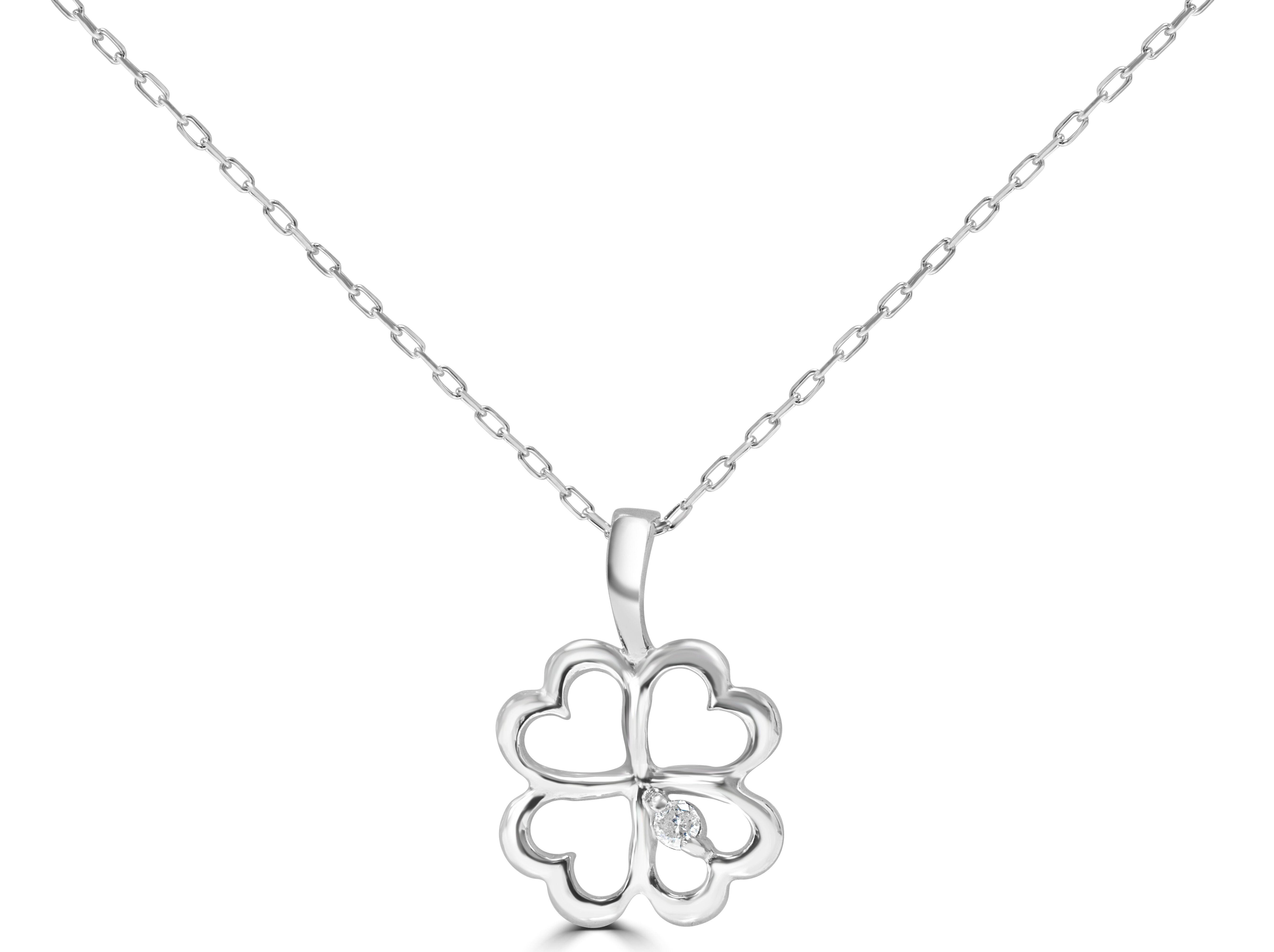 4 Heart Diamond Pendant Key In 9ct White Gold With 16 Inch Chain RRP £250