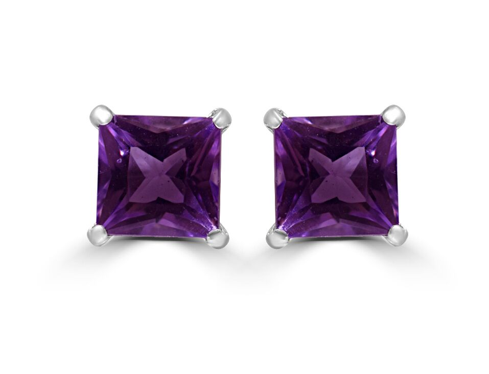 Square Cut Amethyst Platinum Stud Earrings - 0.60ct Natural Gemstones RRP £49