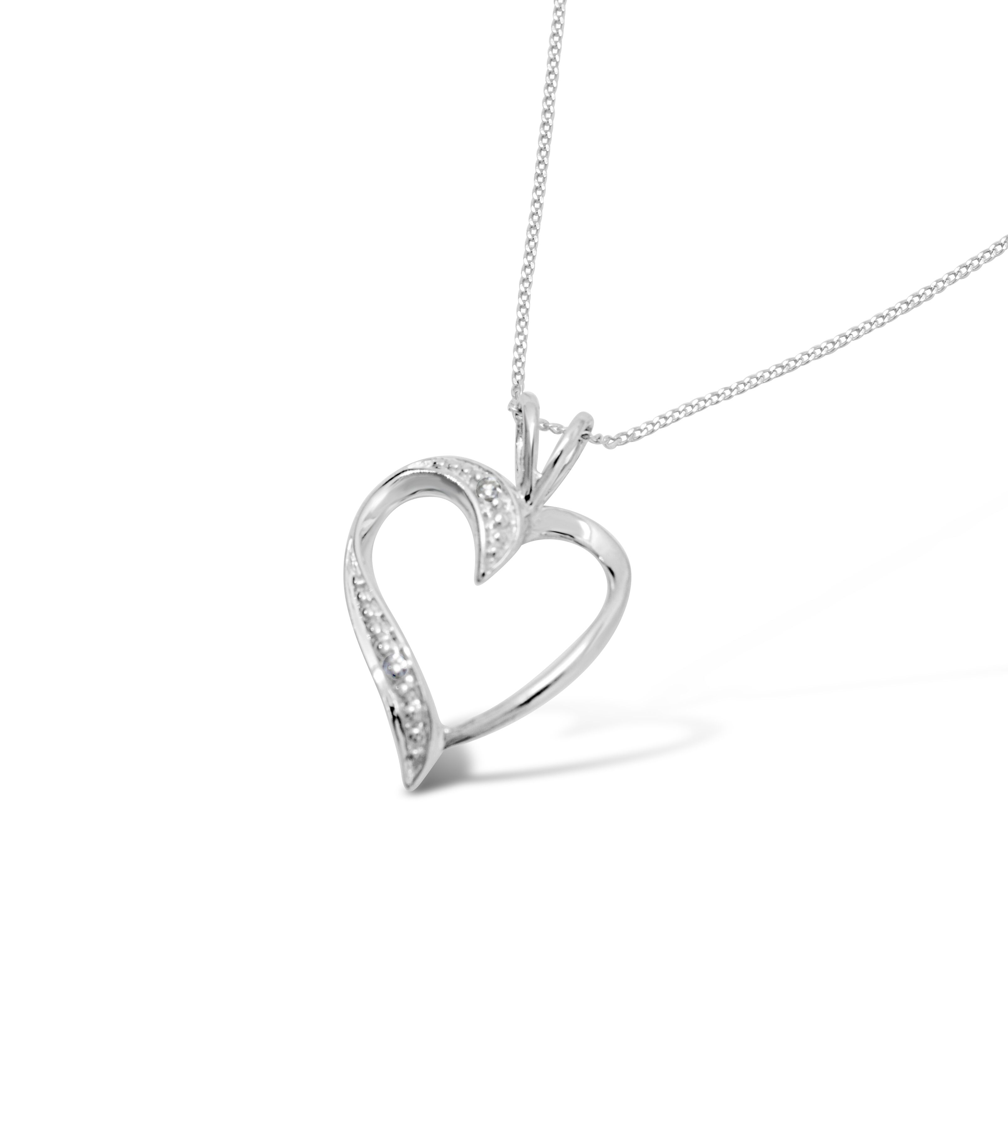 Heart Shaped Diamond Pendant With a 9ct Gold Chain RRP £225