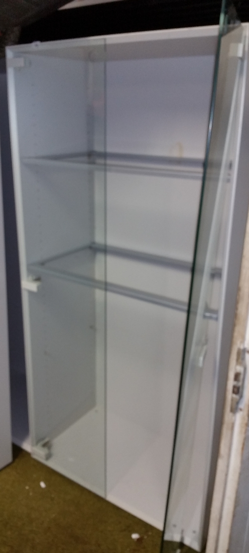 lot 150 two glass fronted metal cabinets