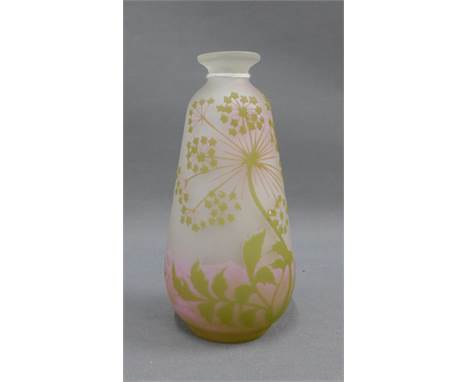 Cameo glass vase, bearing a Galle signature, 17cm high