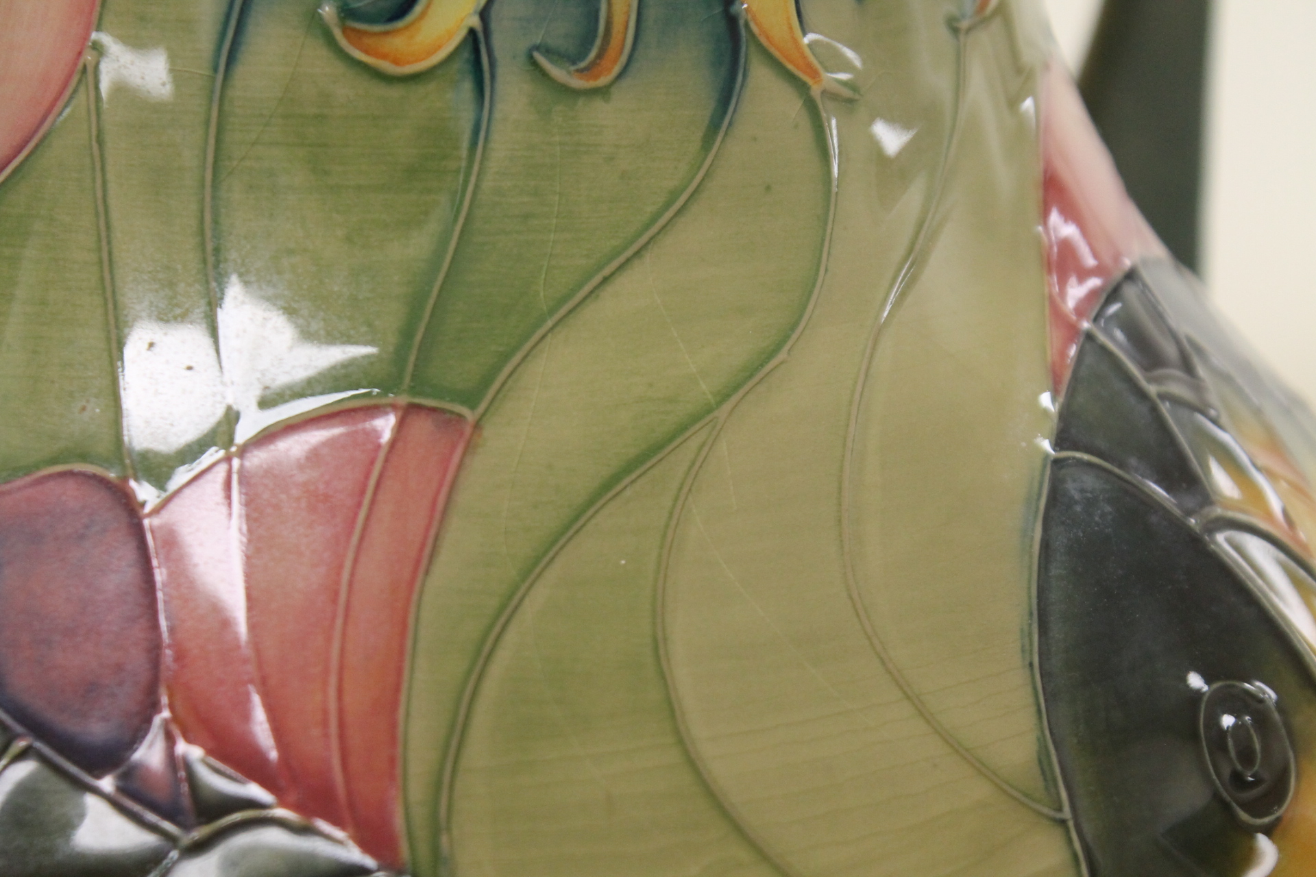 """Lot 251 - Large Moorcroft Pottery twin handled """"Carp"""" pattern vase designed by Sally Tuffin,"""