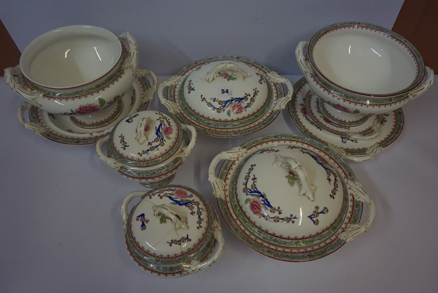 Lot 54 - A Part Late Victorian Dinner Set by Royal Worcester, Comprising of mainly tureens, decorated with