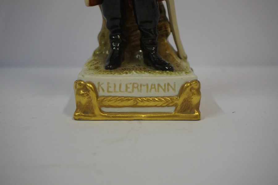 Lot 31 - Sitzendorf Porcelain Figure of General Kellermann, Raised on a fixed gilded plinth, stamped and