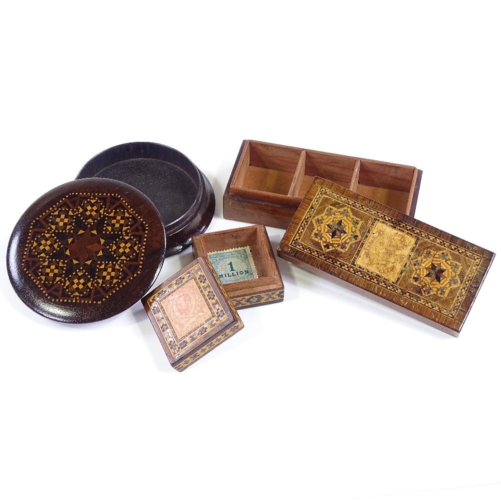 Lot 55 - 3 Victorian Tunbridge Ware boxes, circular box diameter 7.5cm