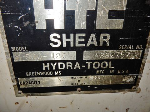 HTC HYD. PLATE SHEAR, M# 500-12C, S/N 4882757 - Image 5 of 5