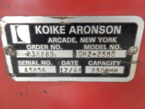 Lot 84 - 2009 KOIKE ARONSON PLATE CUTTING SYSTEM, M# GM2-2500 MASTERGRAPH II, S/N 45856