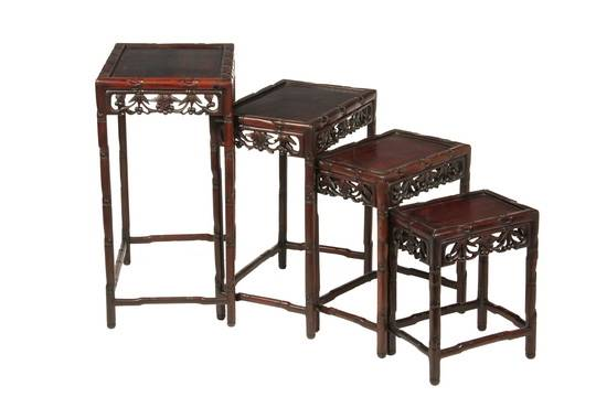 Bon (SET OF 4) CHINESE STACKING TABLES   Fine Nest Of Tables In Huanghuali  Wood, Circa 1930s, Having