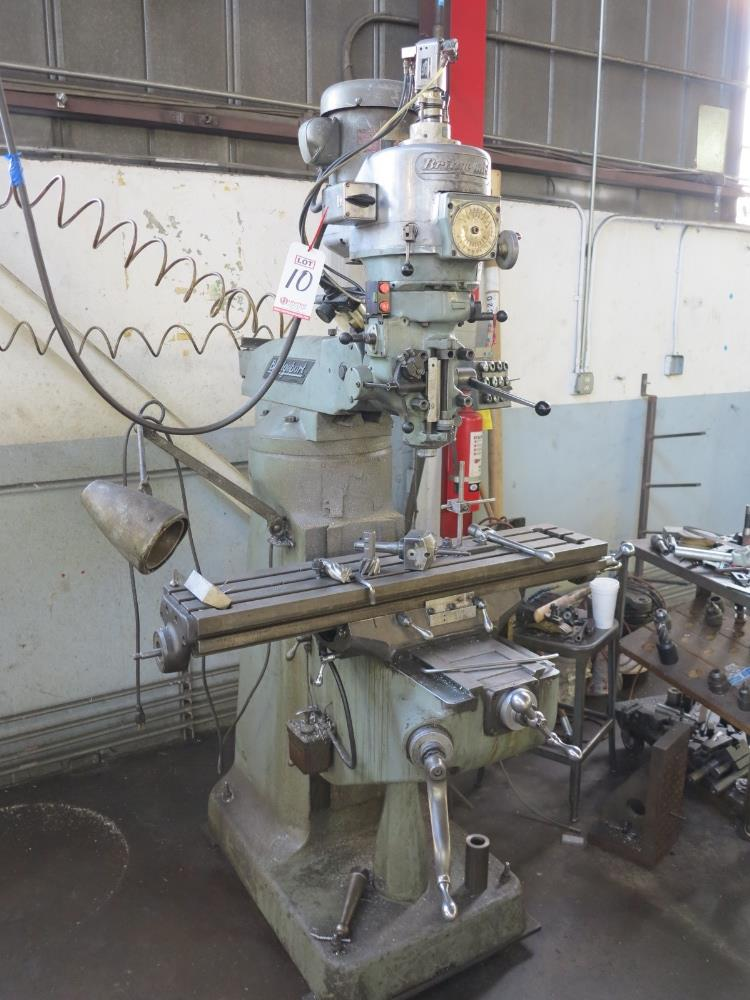 """BRIDGEPORT VERTICAL MILL, 9"""" X 42"""" TABLE, MITUTOYO 2-AXIS PRO, VARIABLE SPEED POWER DRAW BAR, S/N"""