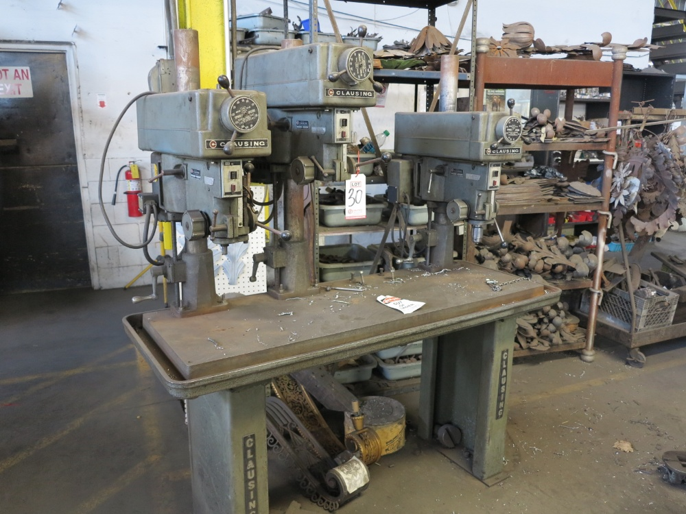 """16"""" CLAUSING GANG DRILLS, 3 VARIABLE SPEED HEADS, 5' TABLE, S/N 516606, 618605, 516607"""