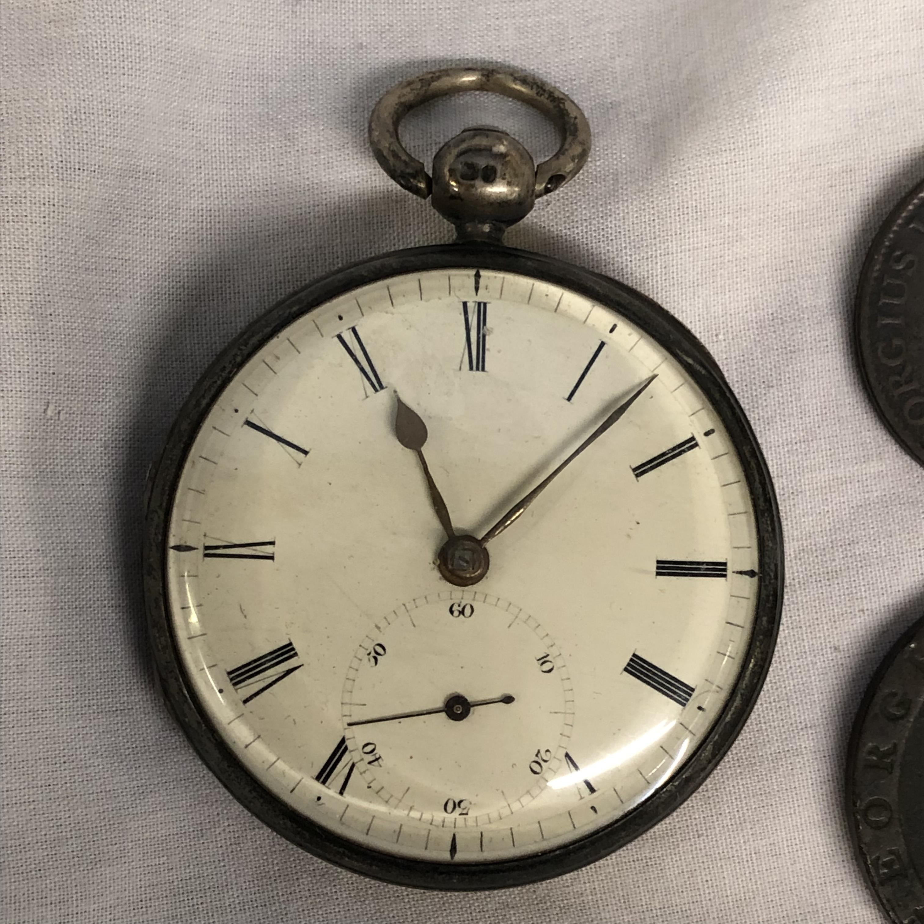 Lot 249 - LONDON CASED POCKET WATCH AND TWO GEORGIAN COINS