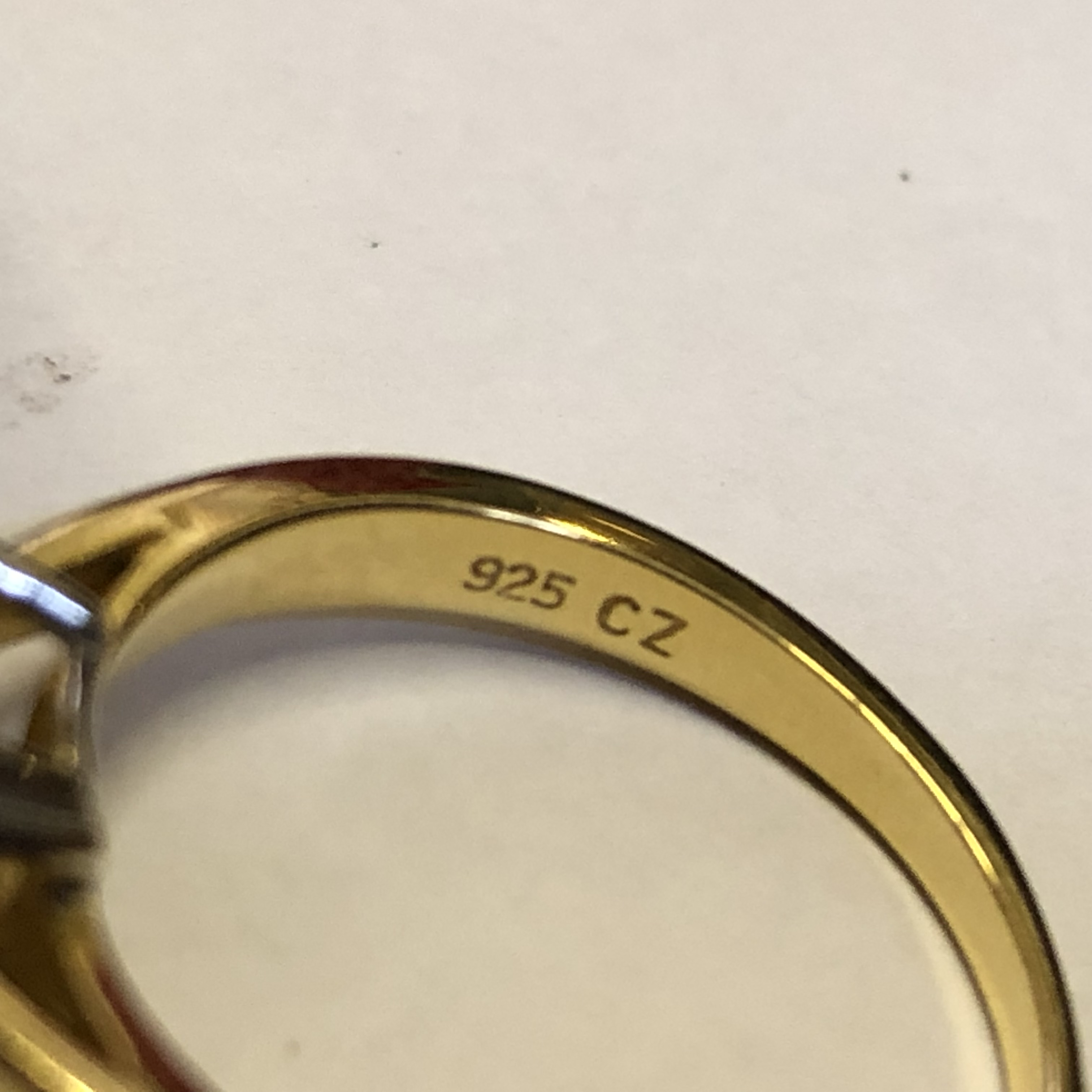 Lot 219 - 9CT GOLD AMETHYST SOLITAIRE RING SIZE-O AND A 925 CZ SOLITAIRE RING SIZE-O 6.