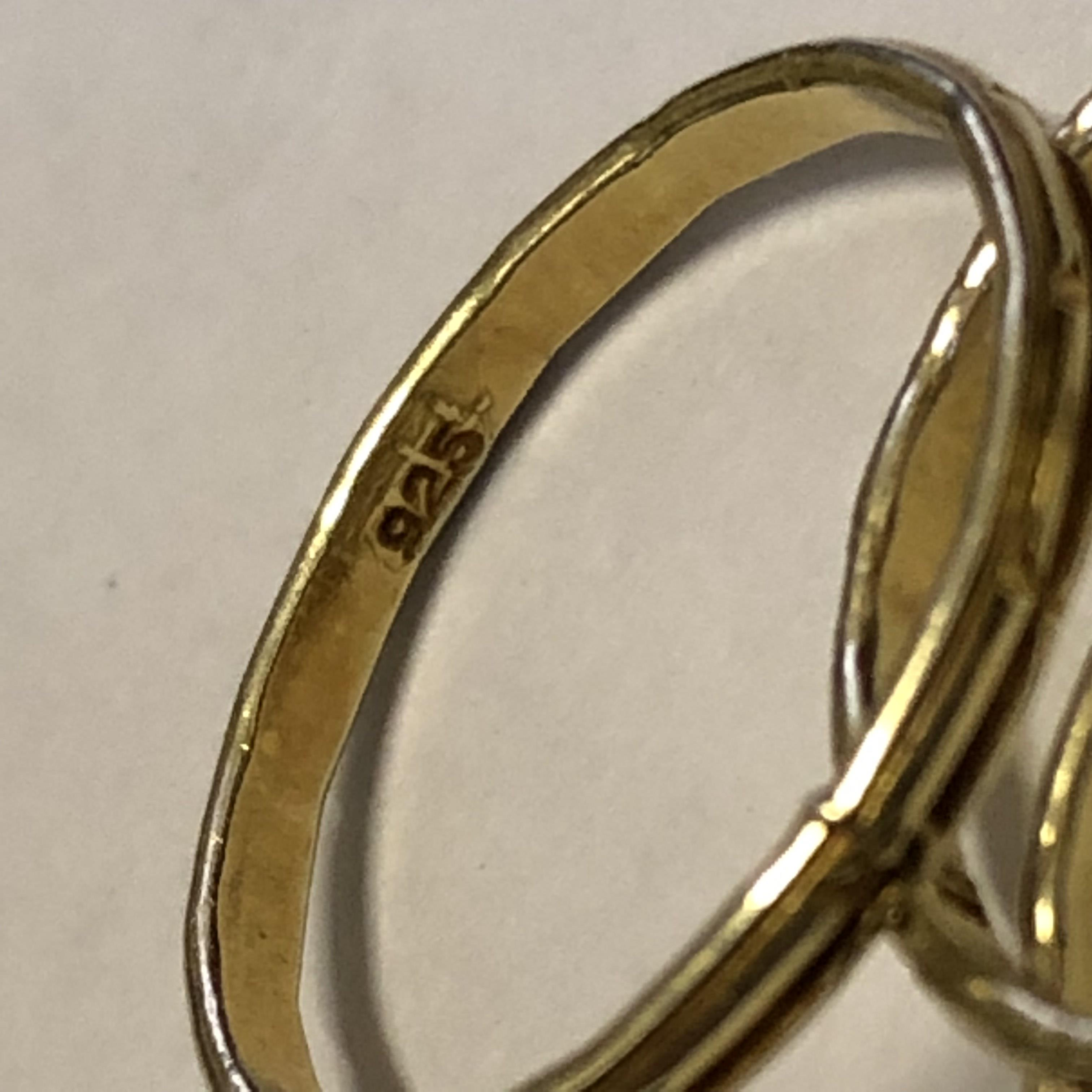 Lot 217 - FIVE 925 STAMPED GOLD PLATED BANDS VARIOUS SIZES 4.