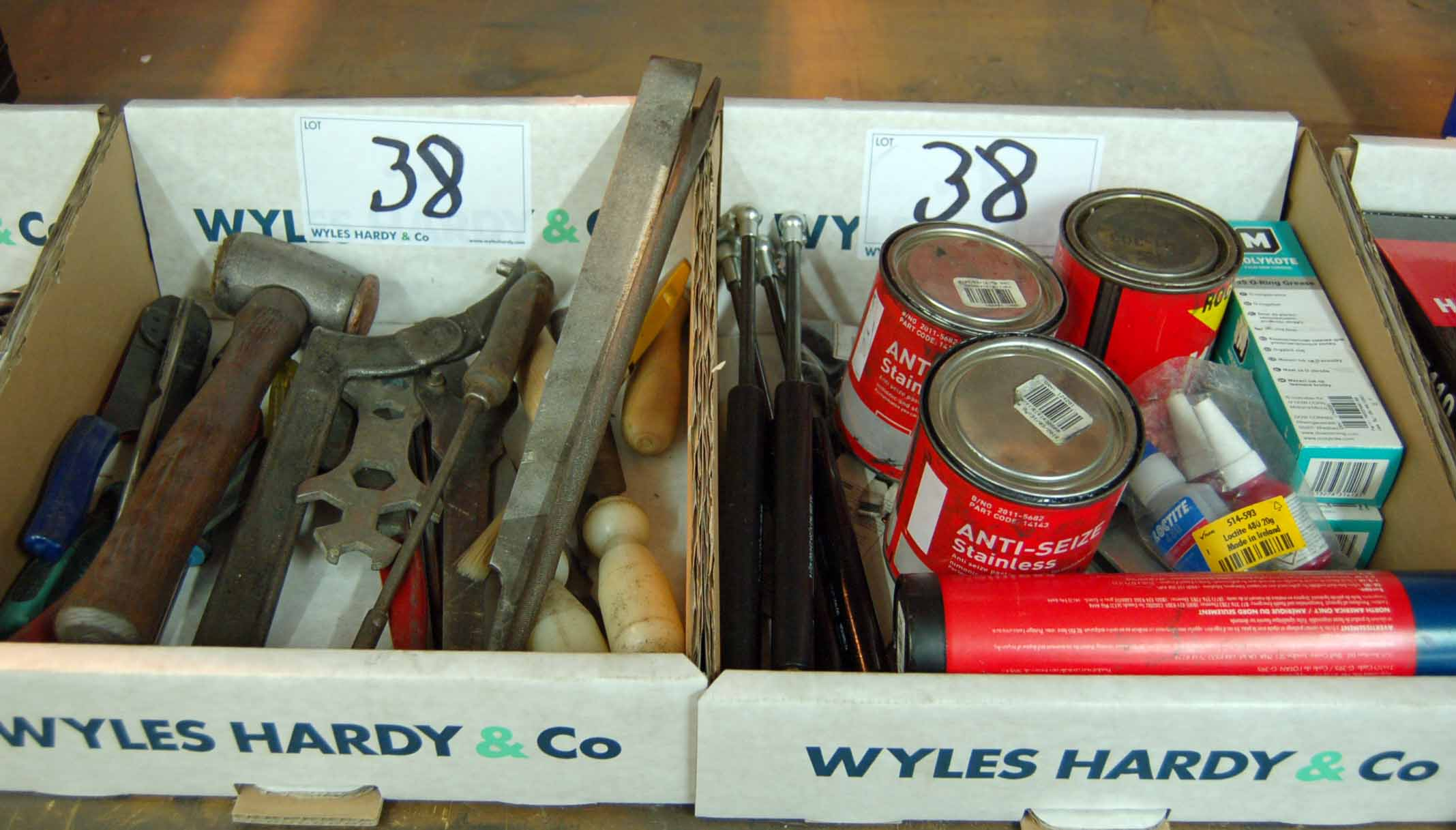 Lot 38 - A Box of Hand Tools and A Box of Consumables (As Photographed)