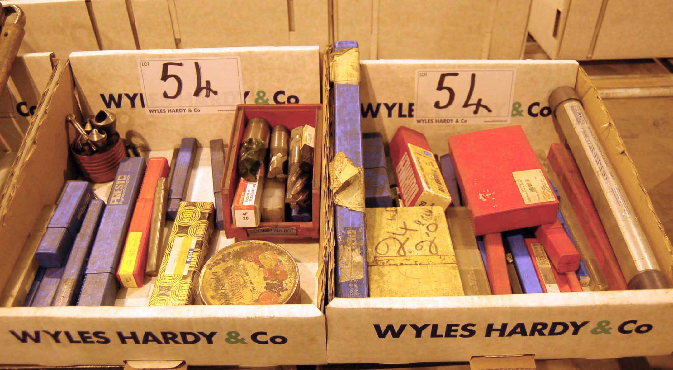 Lot 54 - Two Boxes of Taps, Drills, Reamers and Cutting Heads (As Photographed)