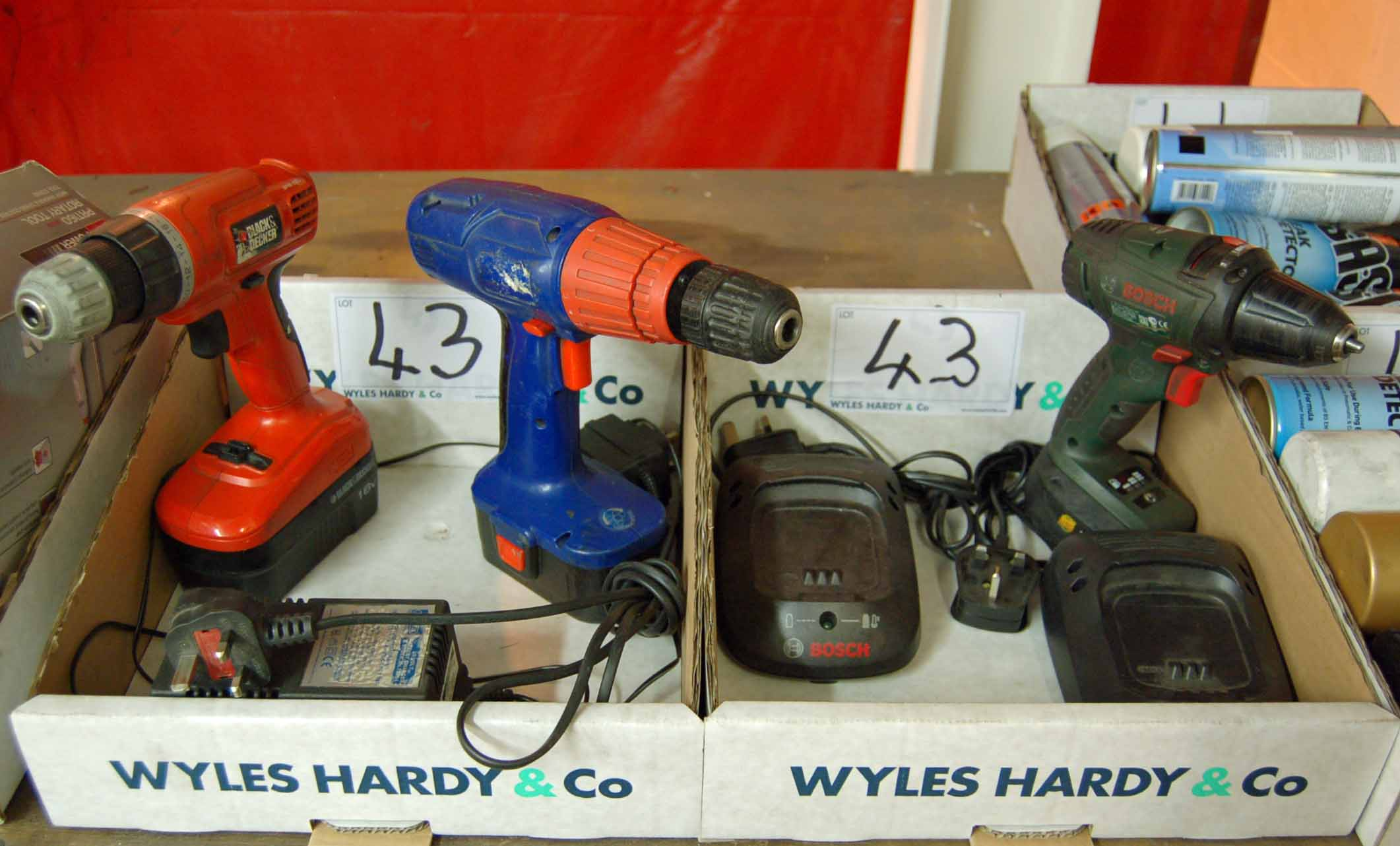 Lot 43 - Three Cordless Drill Drivers and Chargers (As Photographed) (All Faults)
