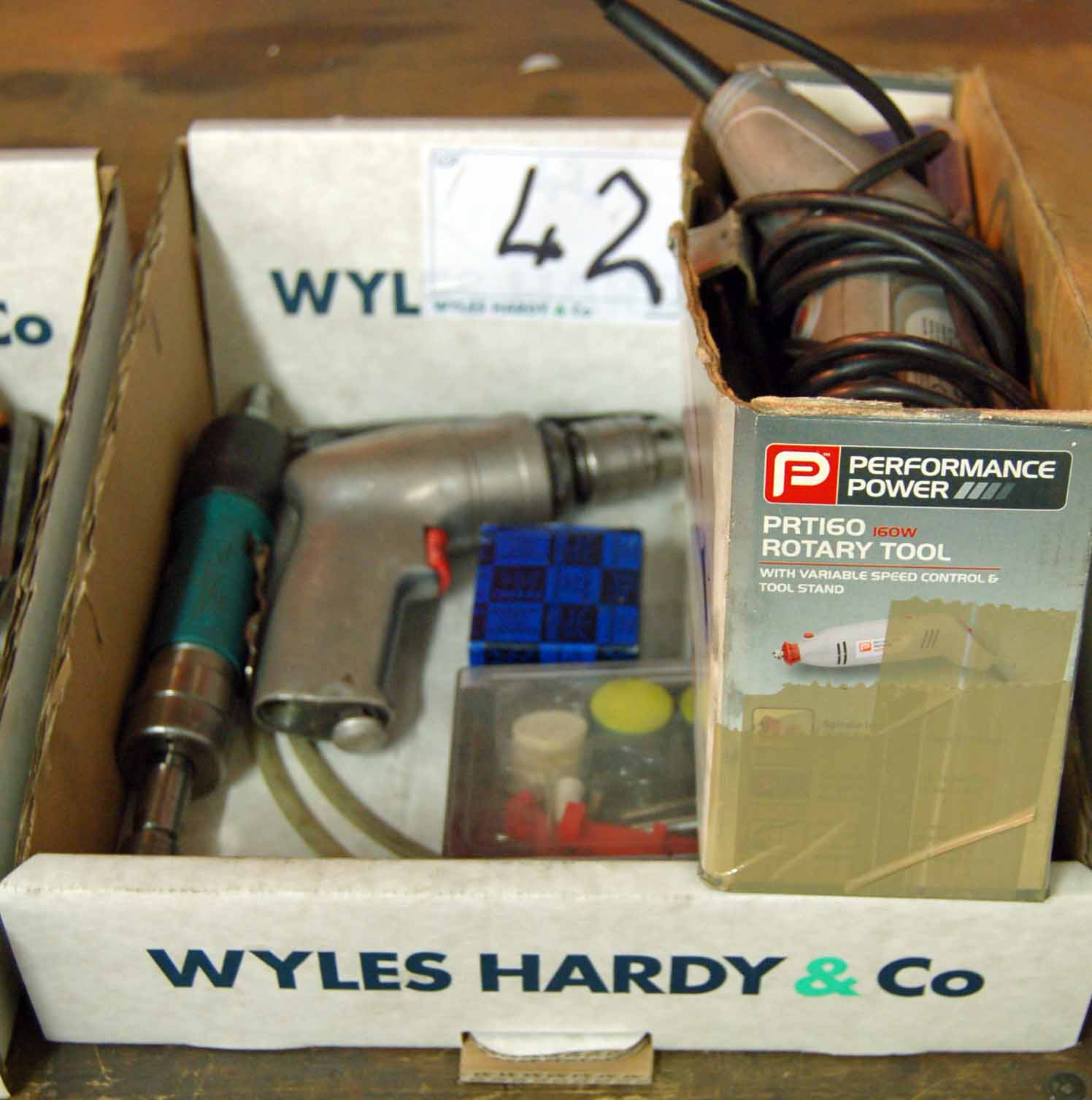 Lot 42 - A PRT 160 Rotary Tool and Attachment, A Pneumatic Die Grinder and A Pneumatic Pistol Drill