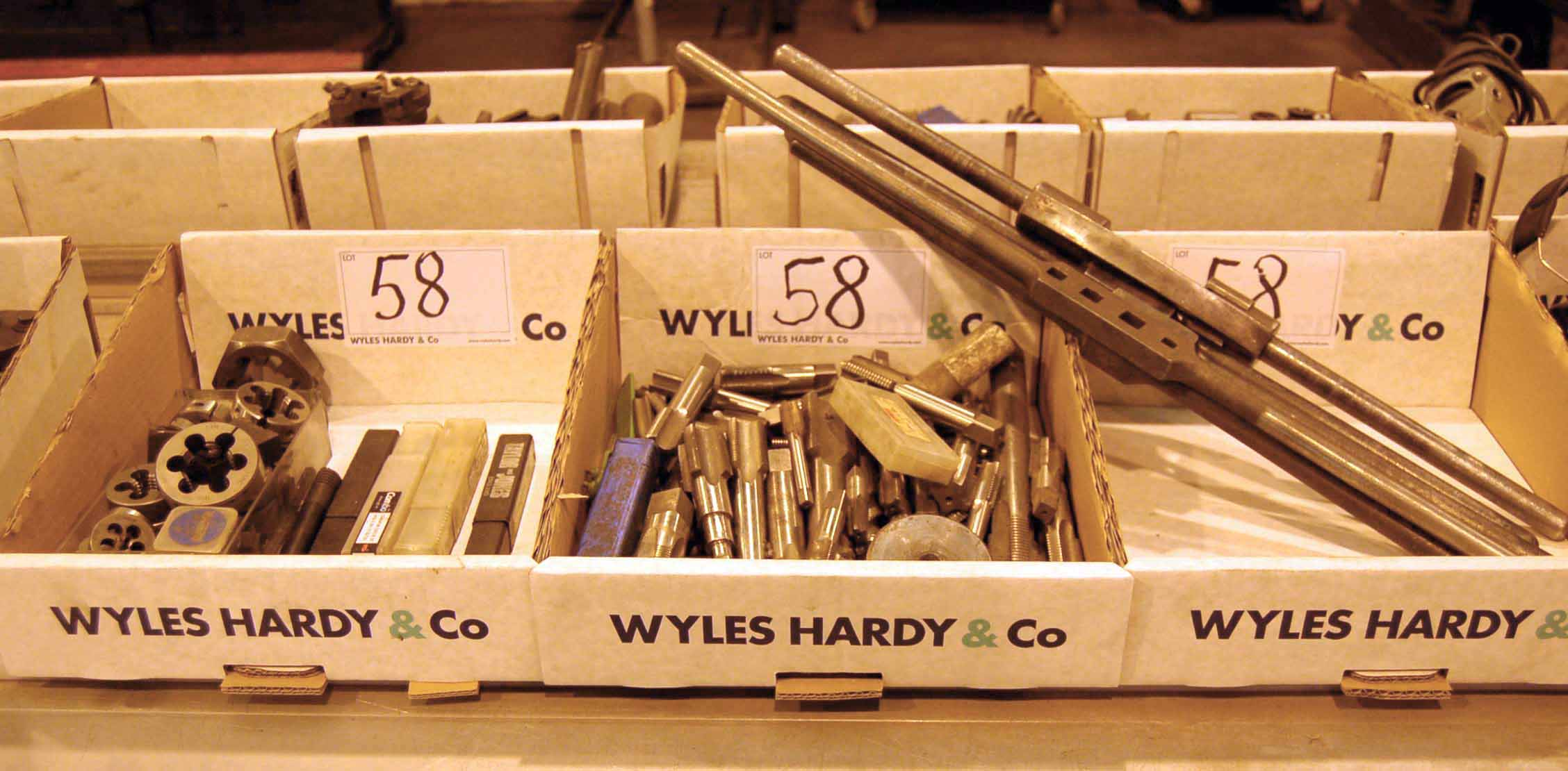 Lot 58 - Three Boxes of Taps, Dies and Hand Wrenches (As Photographed)