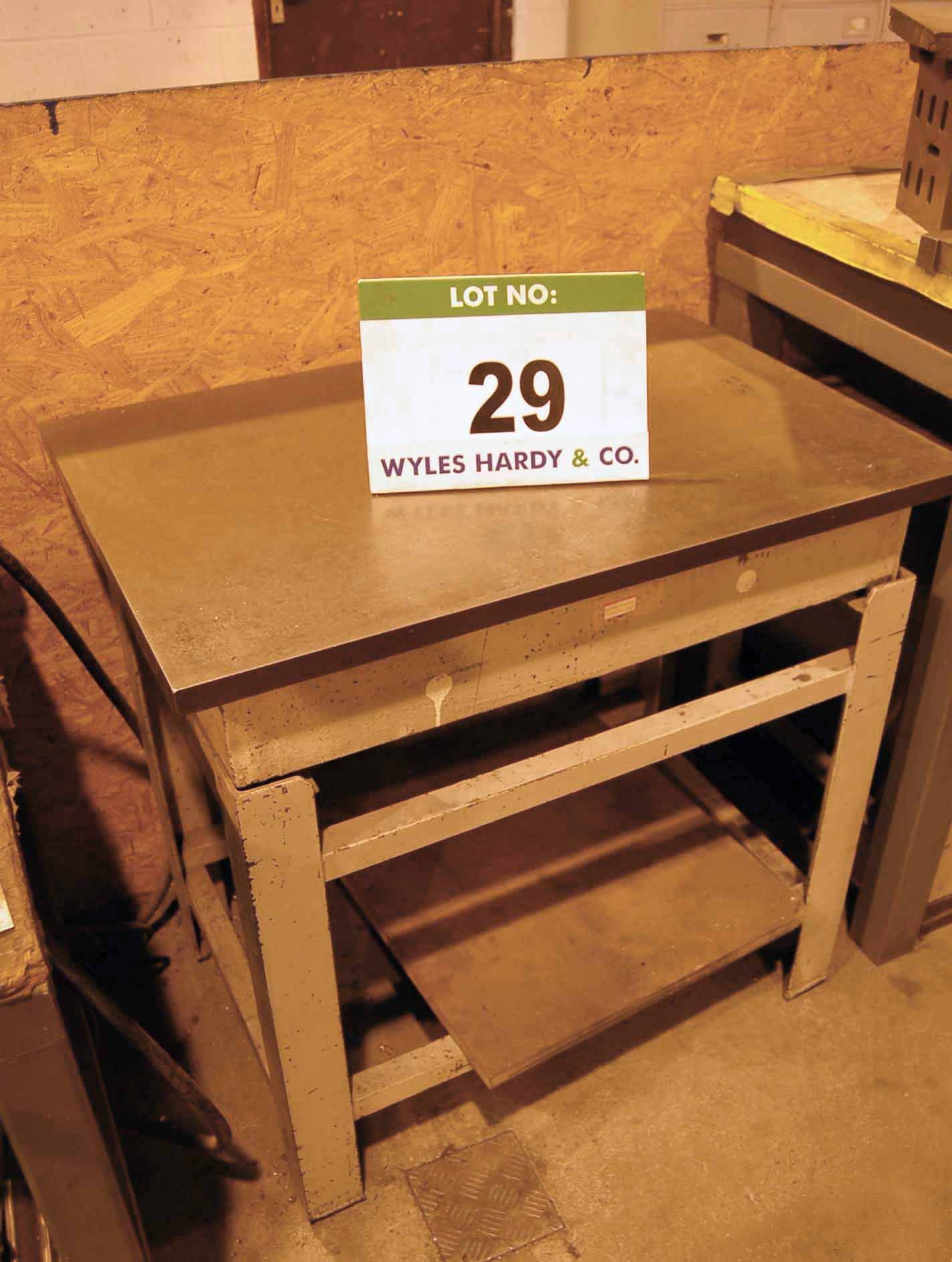 Lot 29 - A 3ft x 2ft Steel Surface Table on Steel Stand
