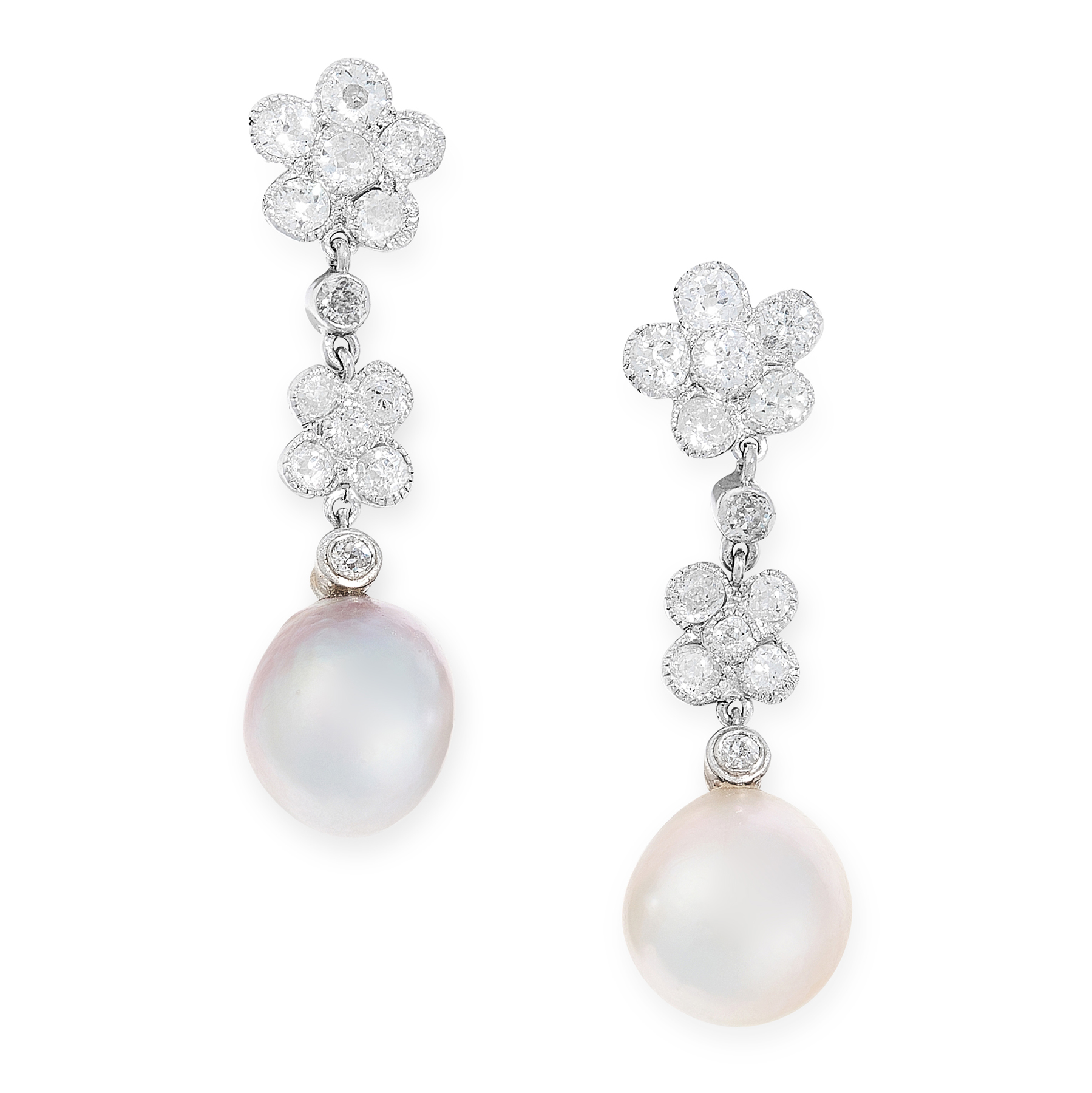A PAIR OF NATURAL PEARL AND DIAMOND EARRINGS each set with a natural pearl of 9.71 and 9.04mm,