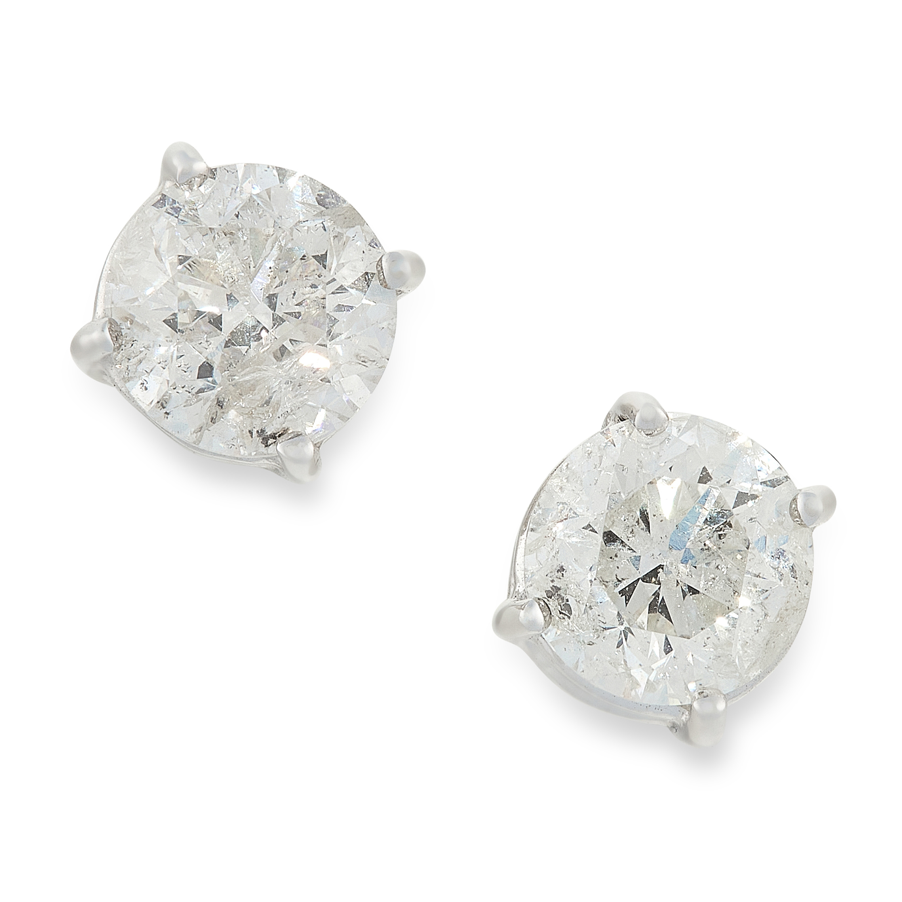 A PAIR OF DIAMOND STUD EARRINGS in 18ct white gold, each set with a round cut diamond, totalling 1.