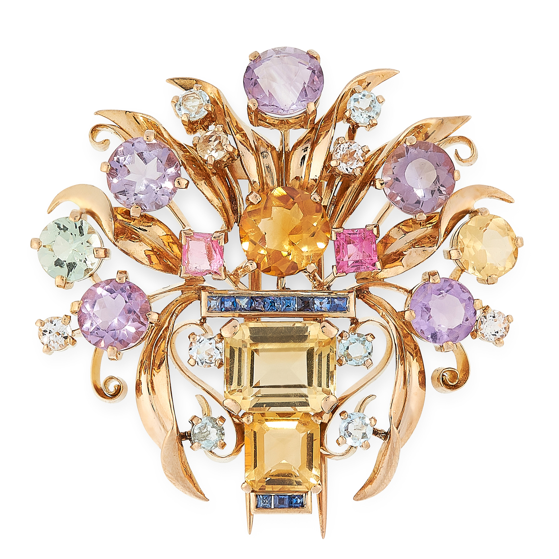 A VINTAGE JEWELLED GIARDINETTO BROOCH in yellow gold, designed as a basket of flowers, jewelled with