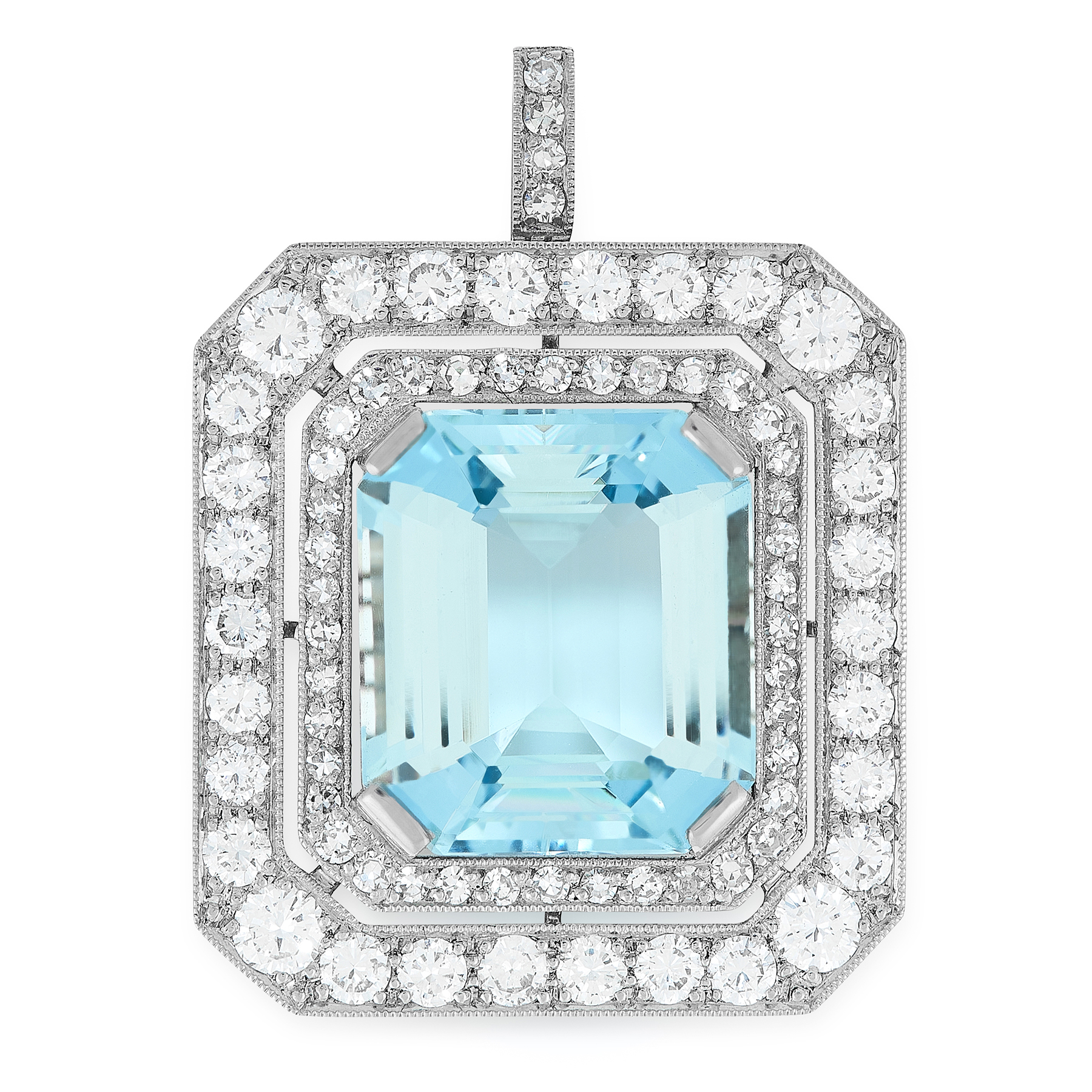 AN AQUAMARINE AND DIAMOND PENDANT set with an emerald cut aquamarine of 10.92 carats, within a two