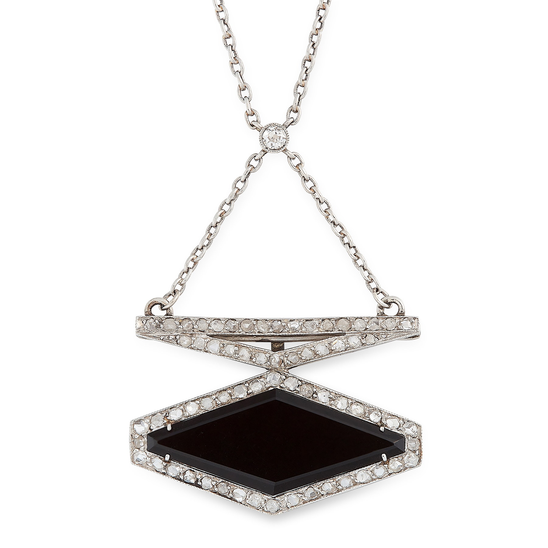 AN ART DECO ONYX AND DIAMOND PENDANT NECKLACE in platinum, set with a polished diamond shaped