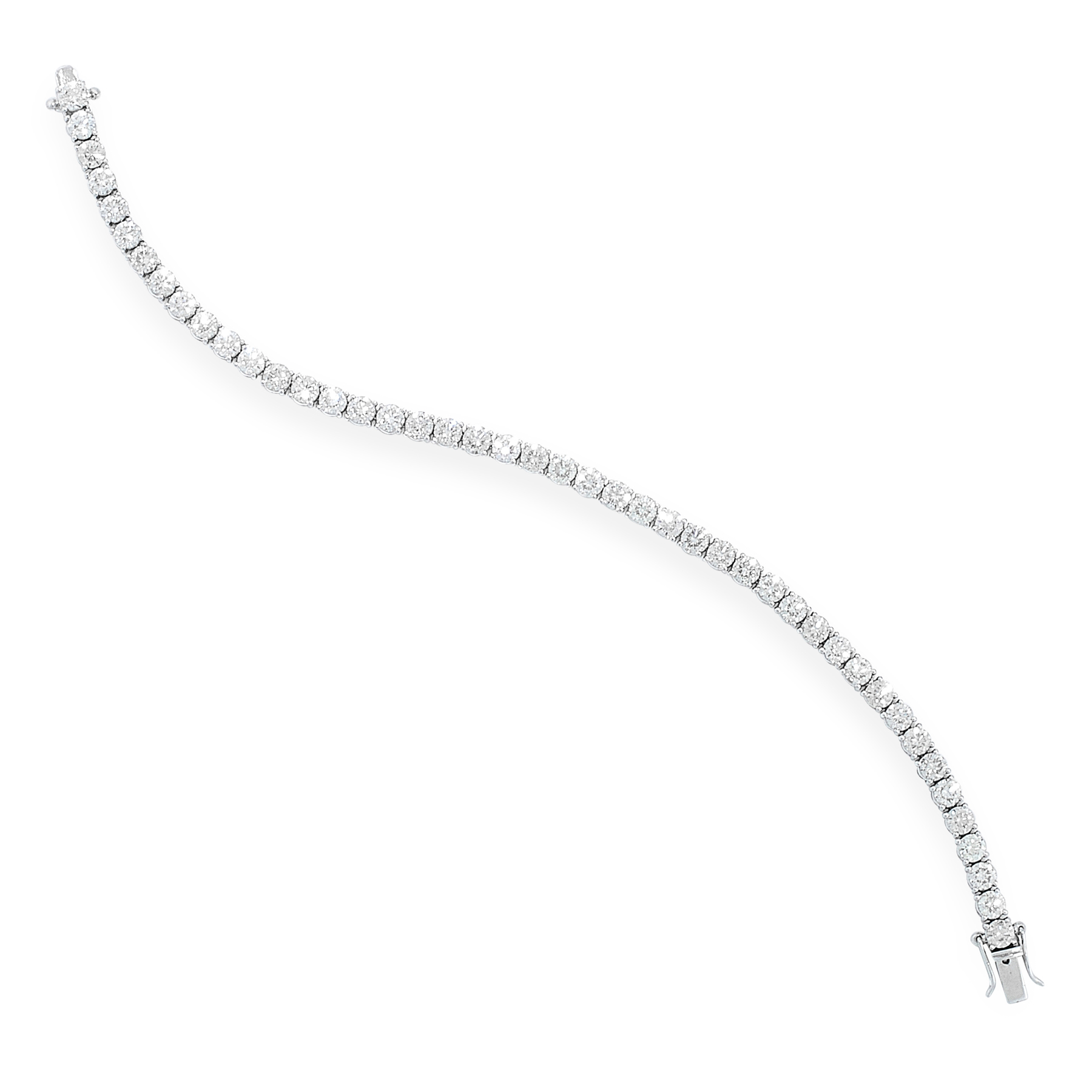 A DIAMOND LINE BRACELET in 18ct white gold, comprising a single row of forty-five round cut diamonds