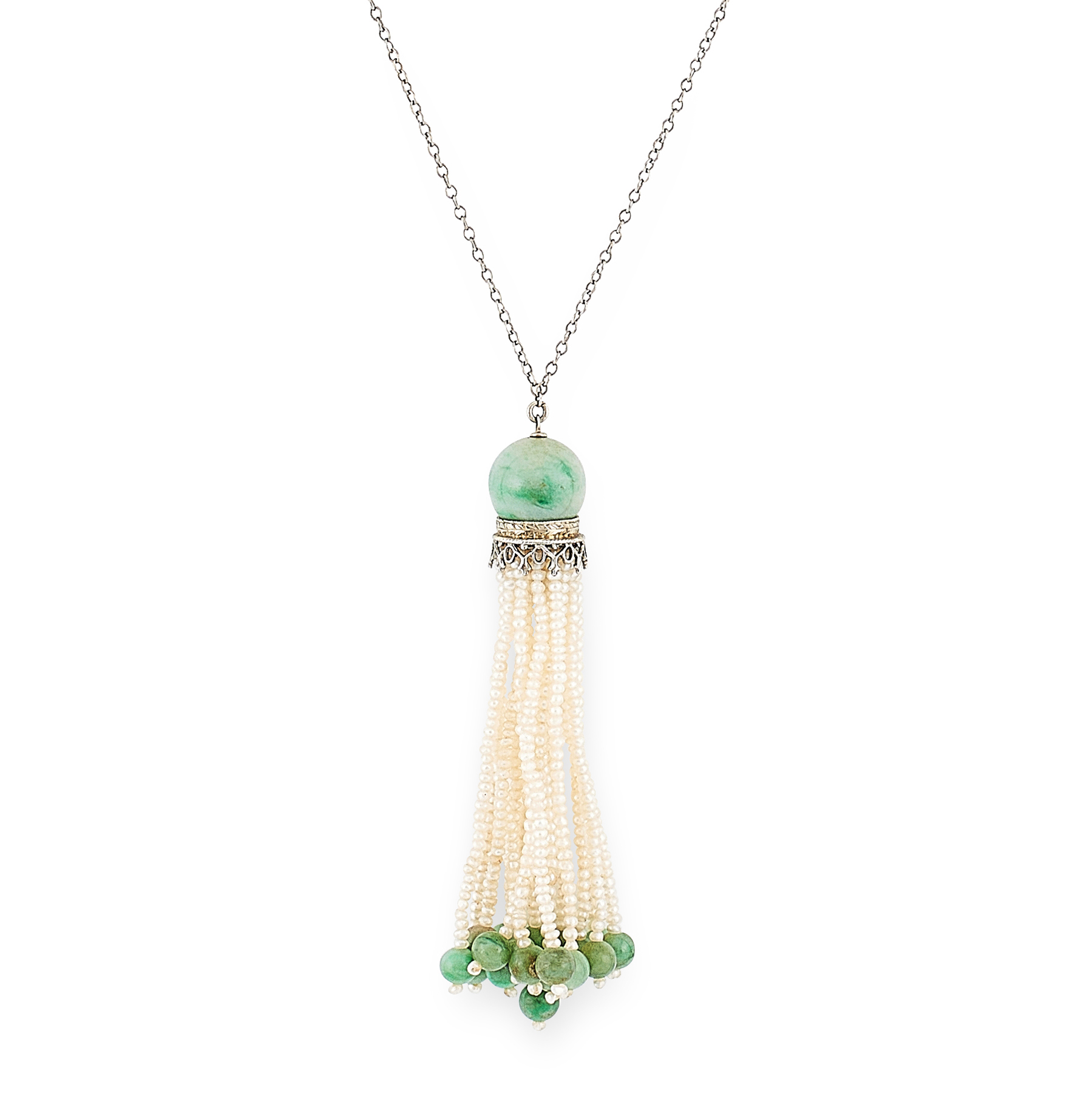 AN ART DECO PEARL AND JADEITE JADE TASSEL PENDANT NECKLACE CIRCA 1930 in white gold, the pendant