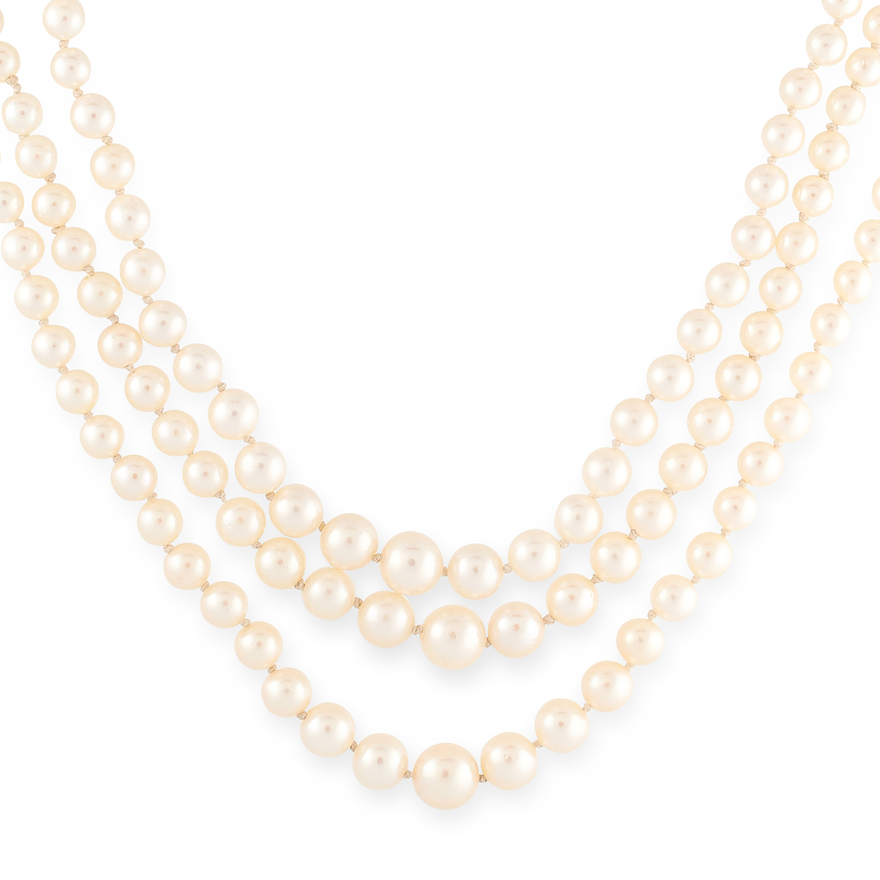 A PEARL AND DIAMOND THREE ROW NECKLACE comprising three rows of one hundred and eighty six graduated